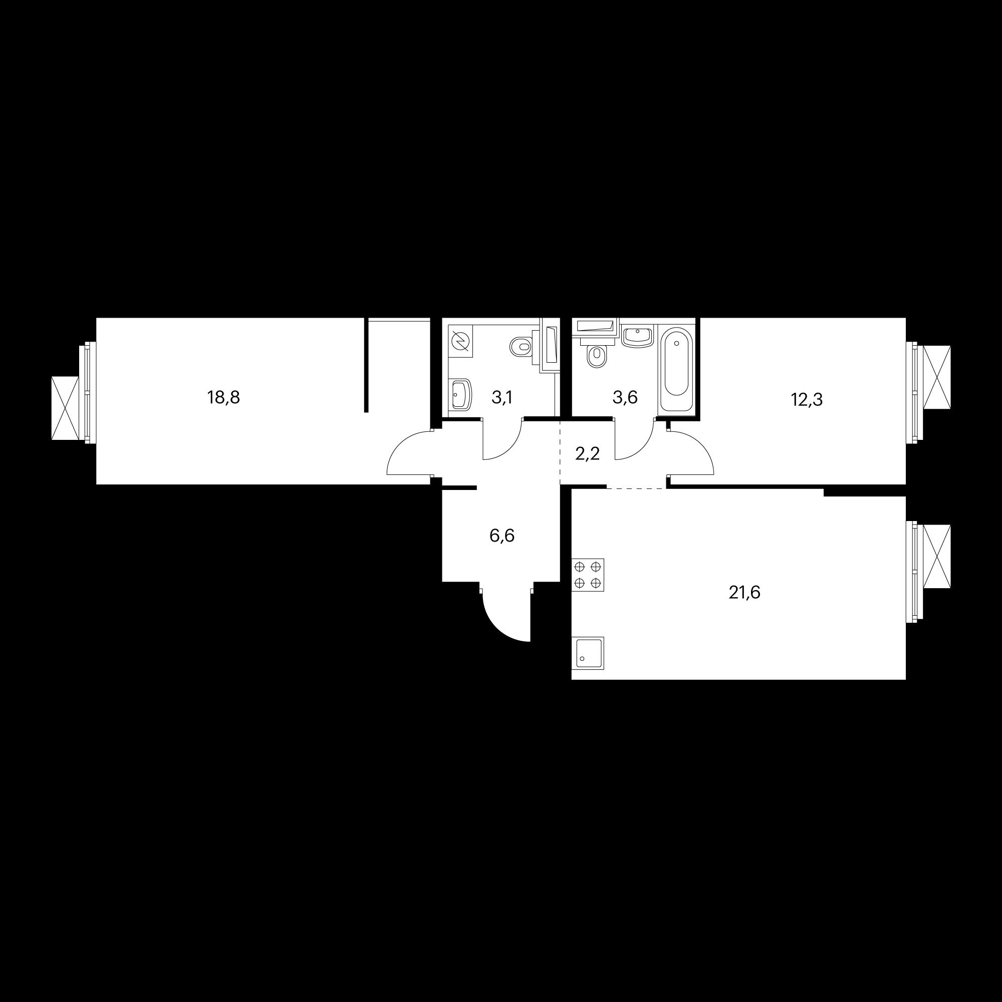 2-комнатная 68.2 м²