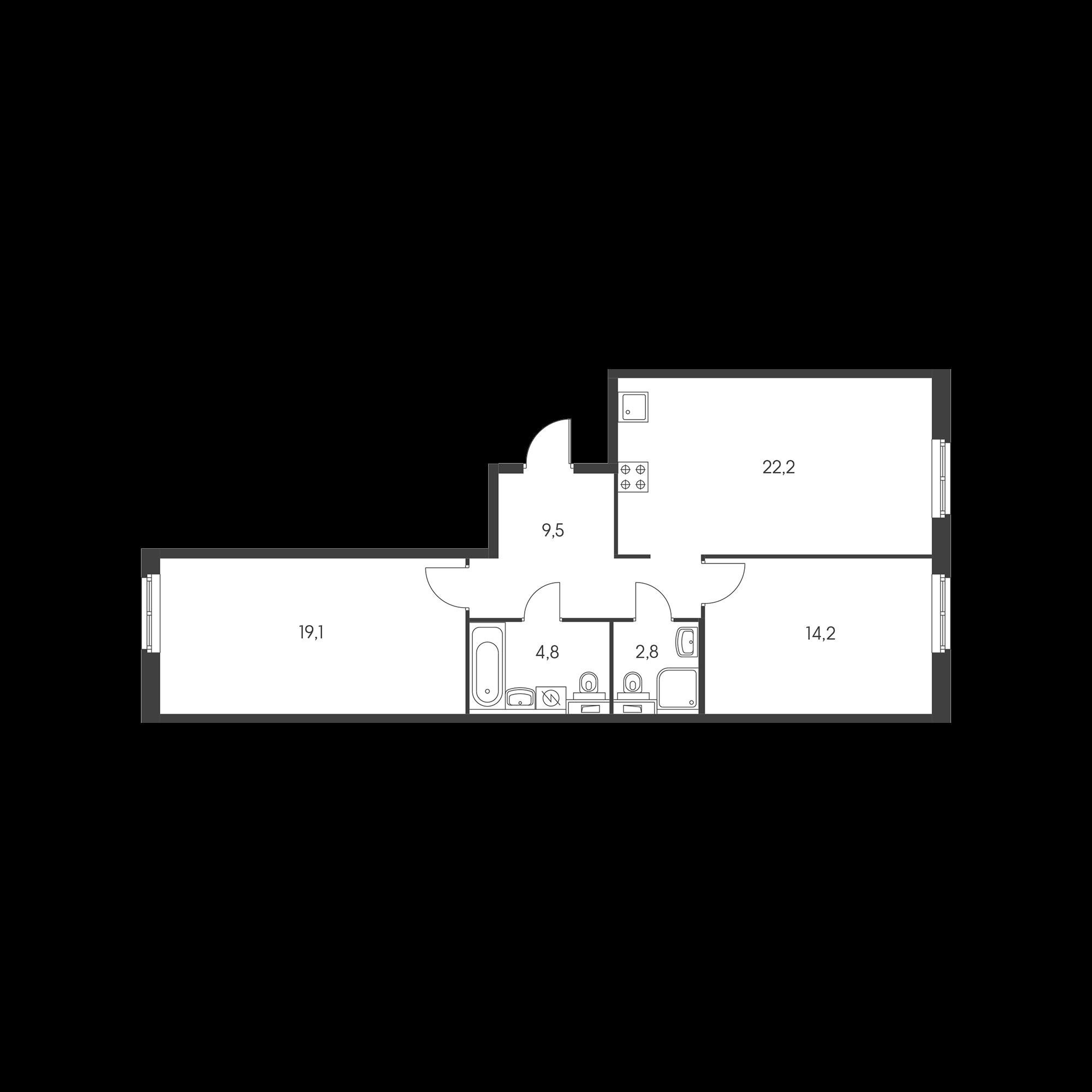 2-комнатная 72.6  м²
