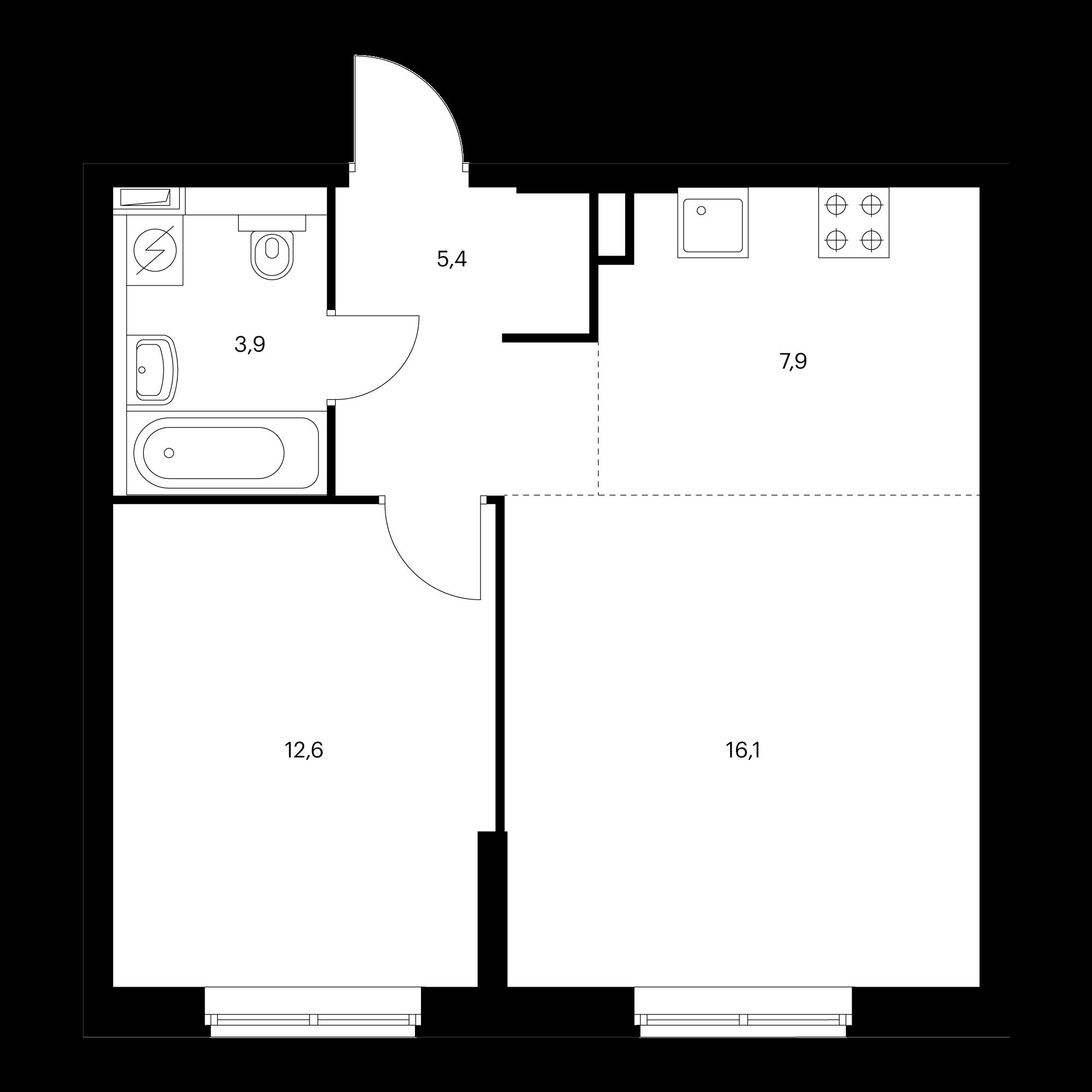 2-комнатная 45.9 м²