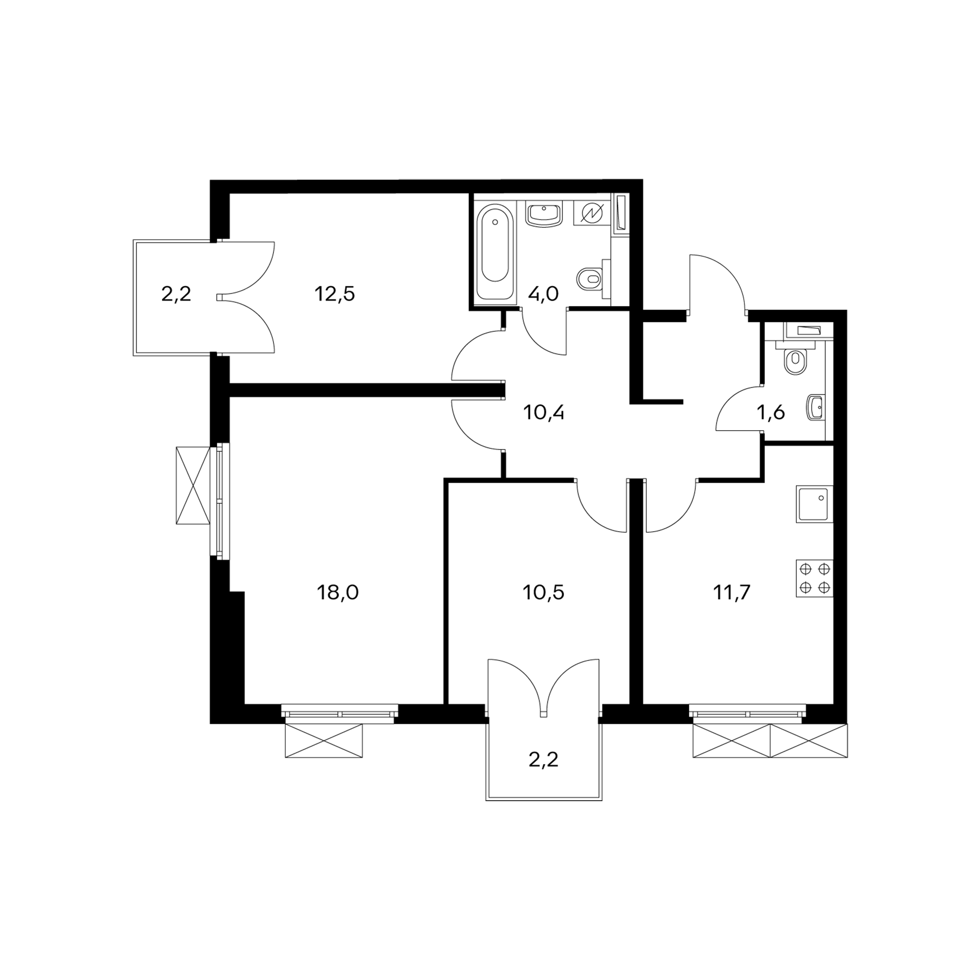 3-комнатная 70.1  м²