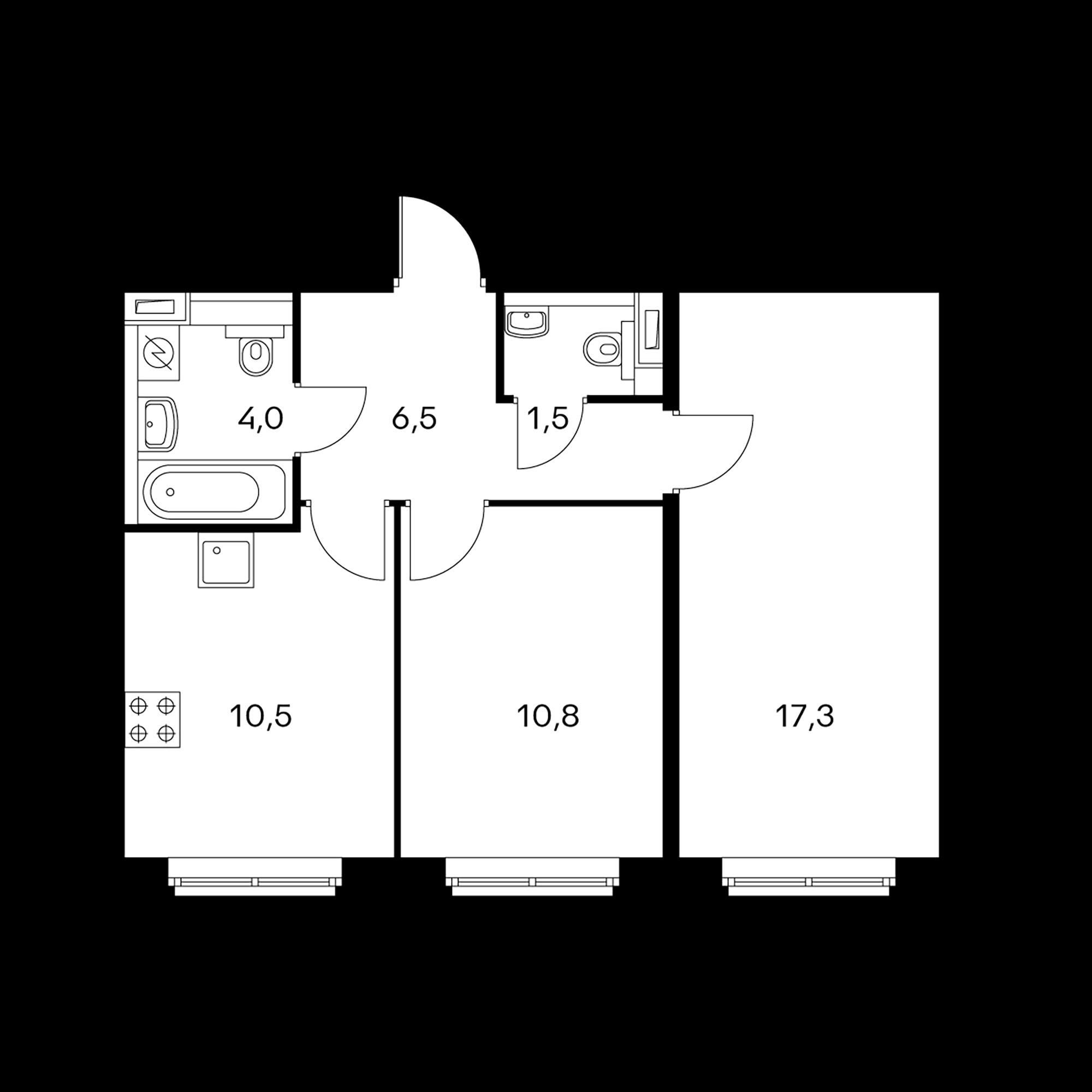 2-комнатная 50.6  м²