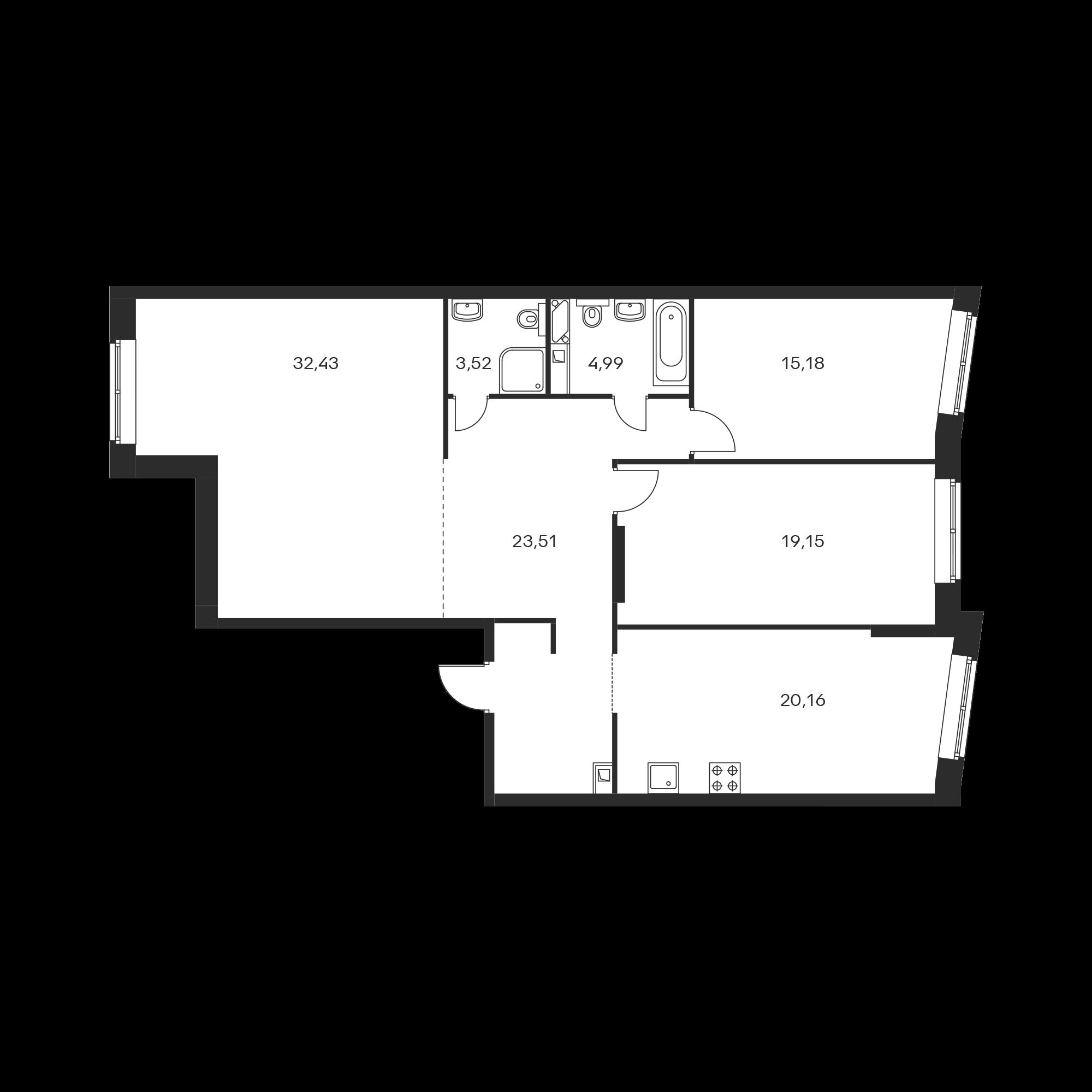 3-комнатная 118.94 м²