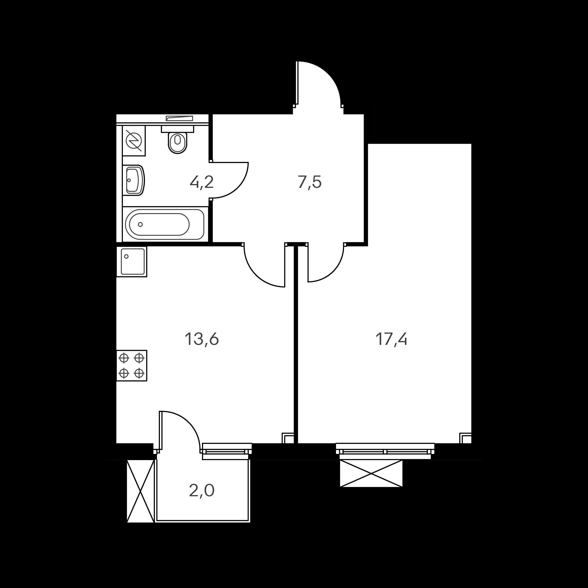 1-комнатная 43.3 м²