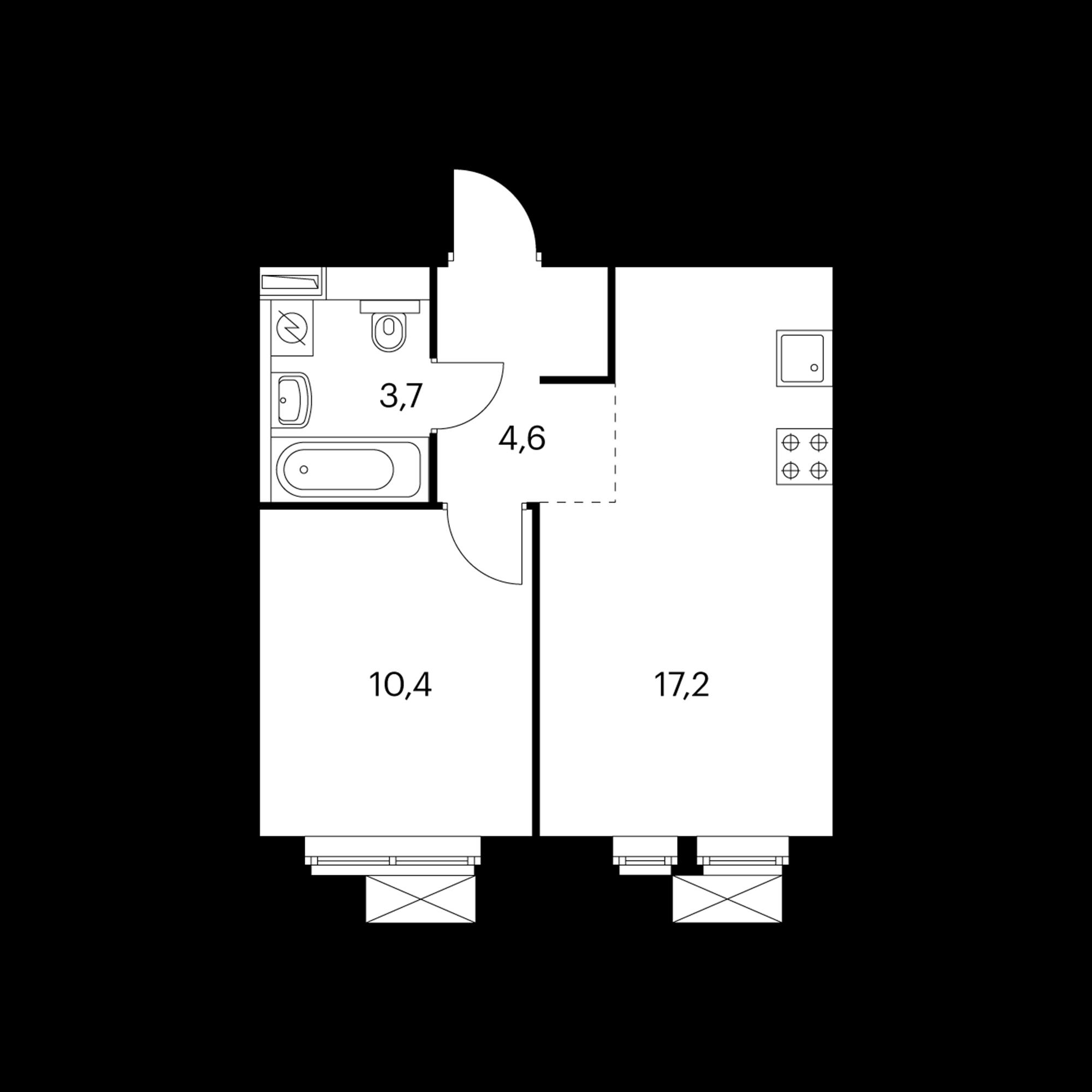 1-комнатная 36.5 м²