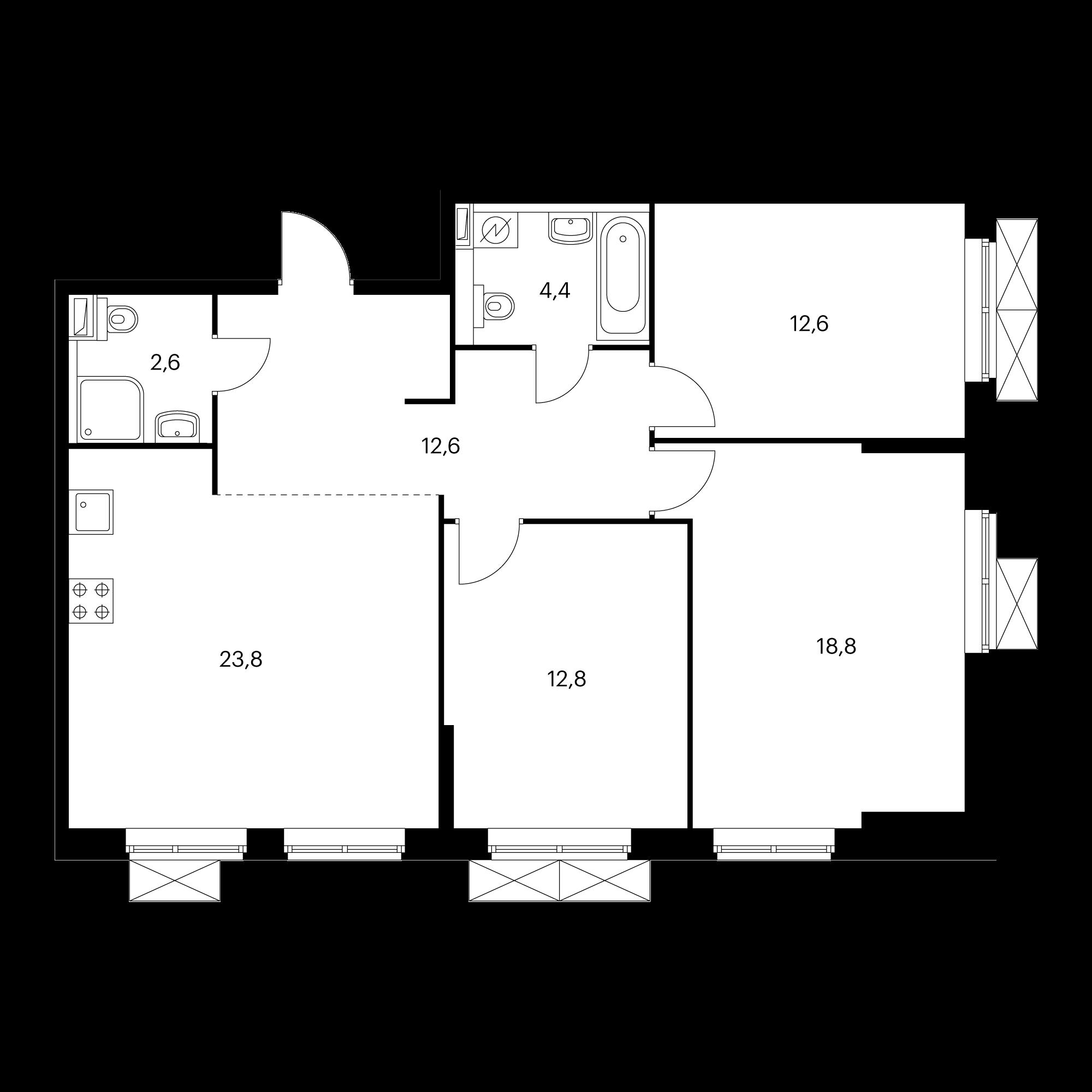 3-комнатная 87.6 м²