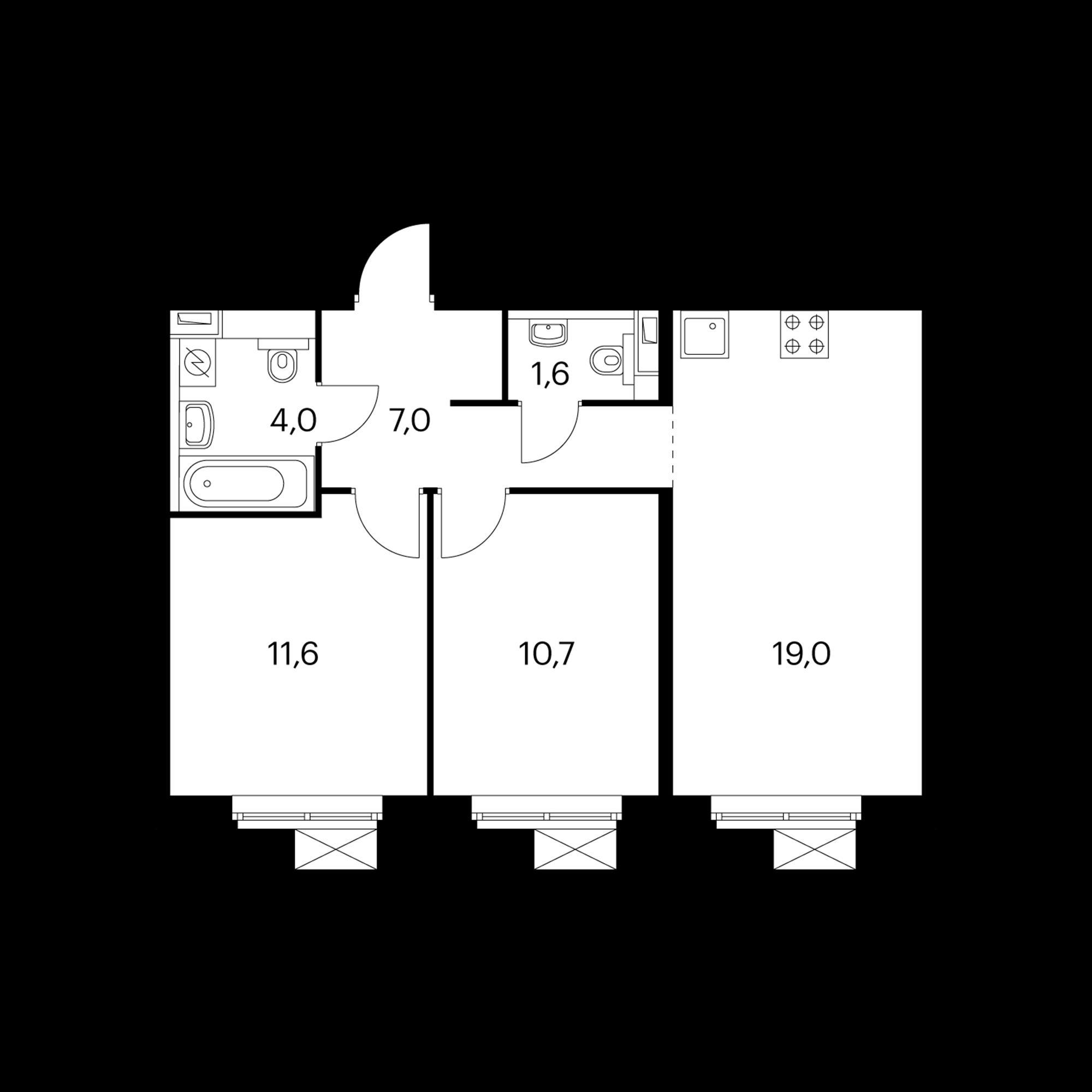 2-комнатная 54  м²