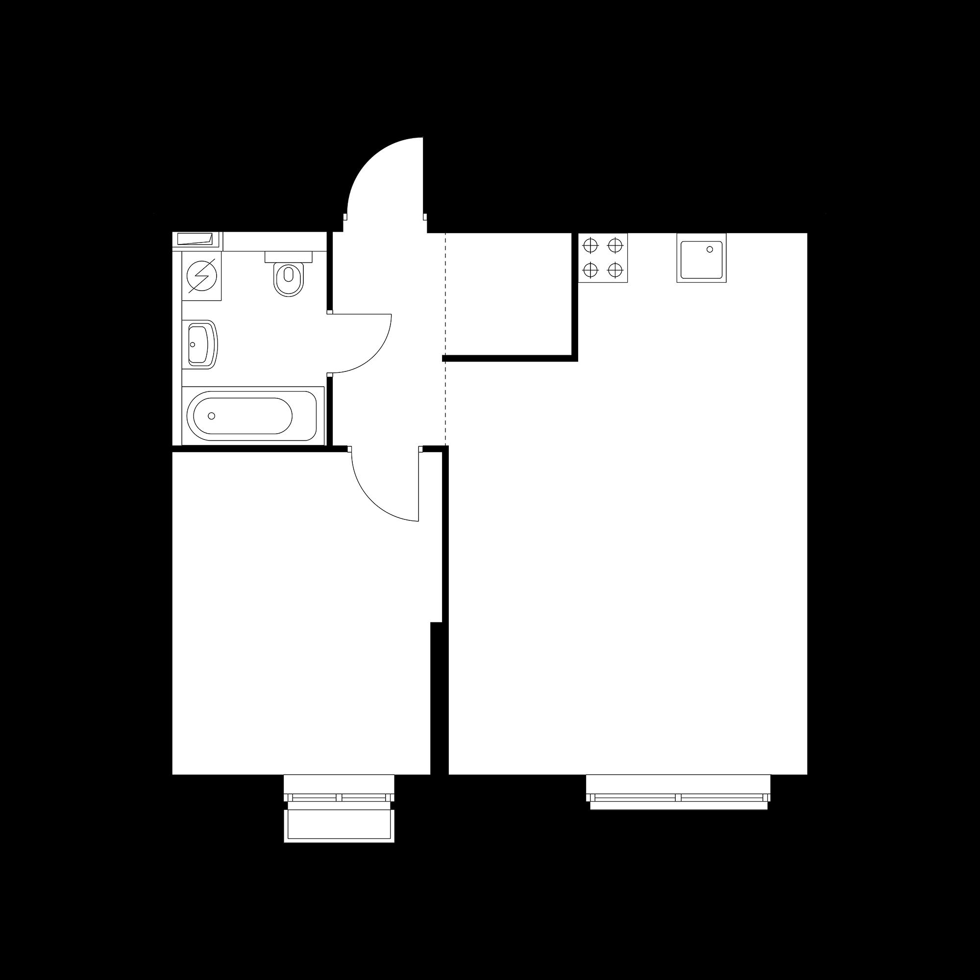 1-комнатная 47 м²