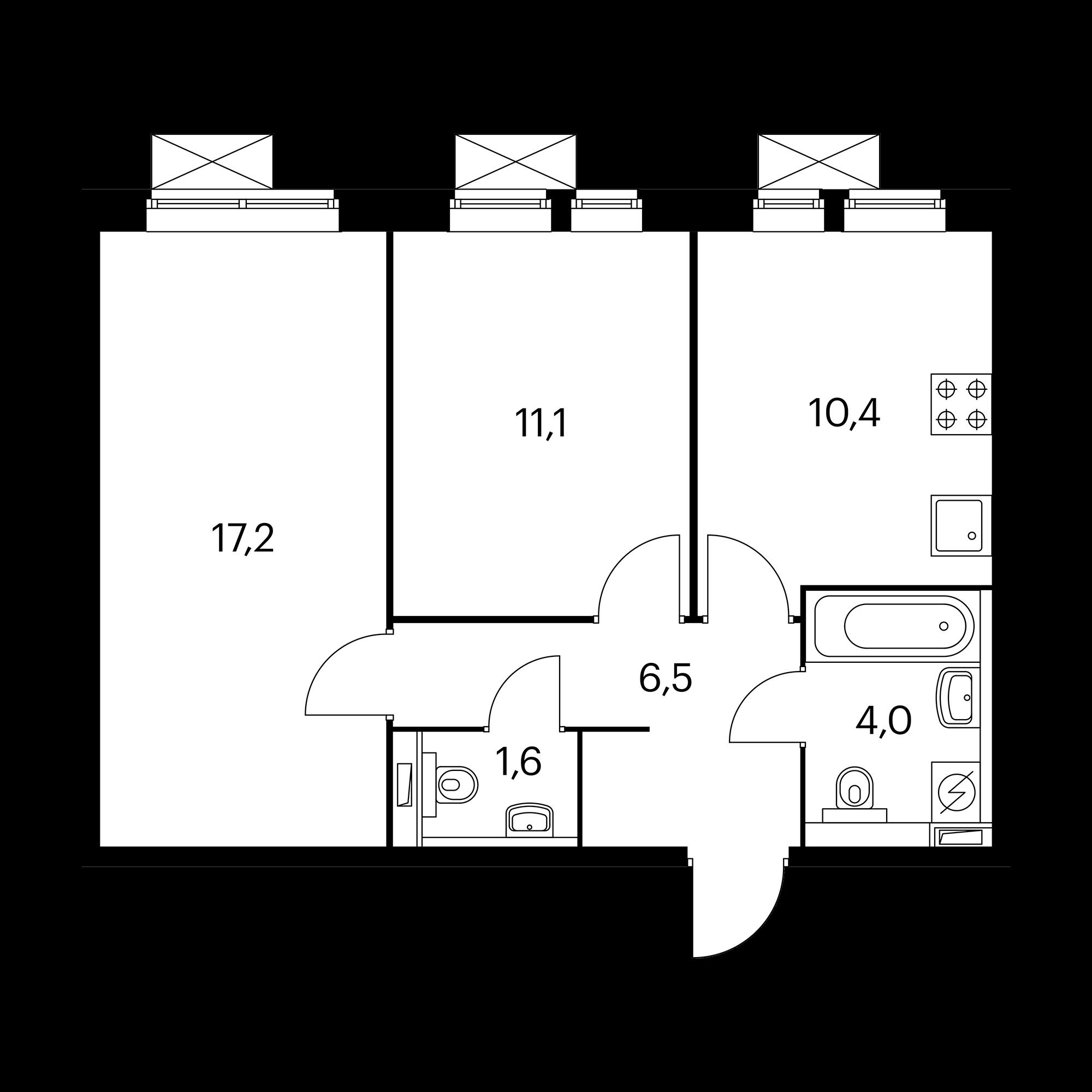 2-комнатная 50.8 м²