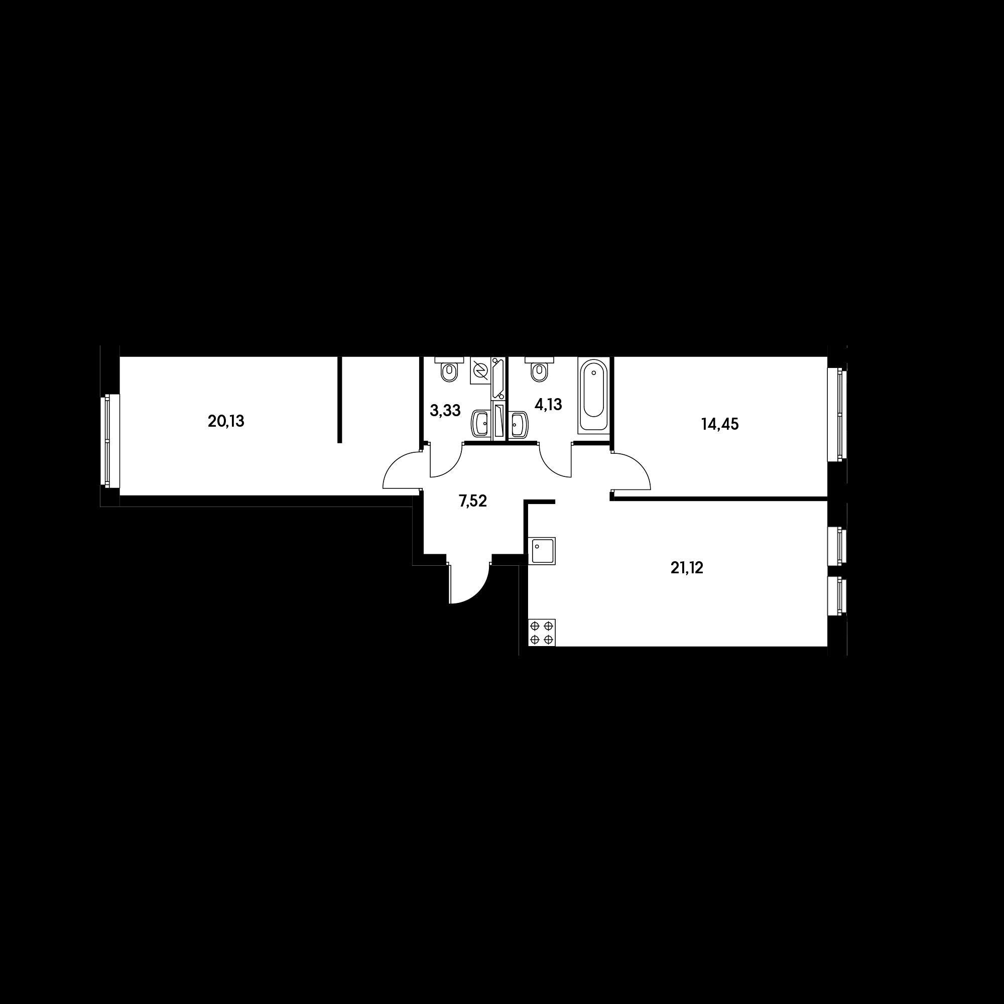 2-комнатная 70.68  м²