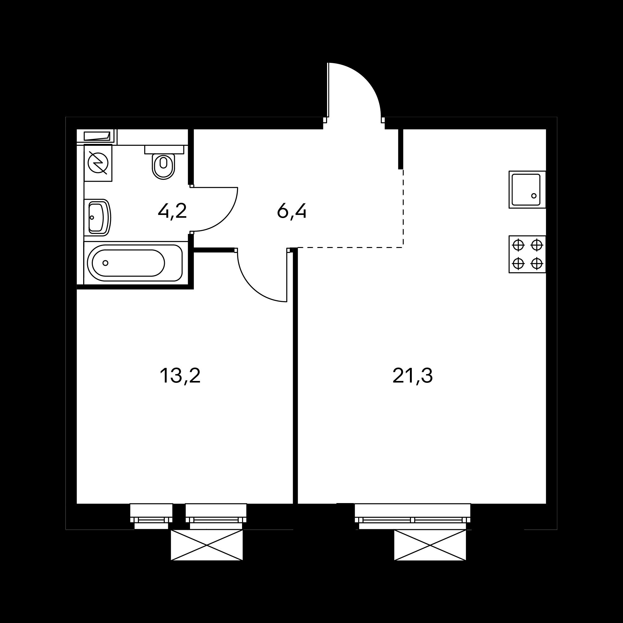 1-комнатная 44.9  м²