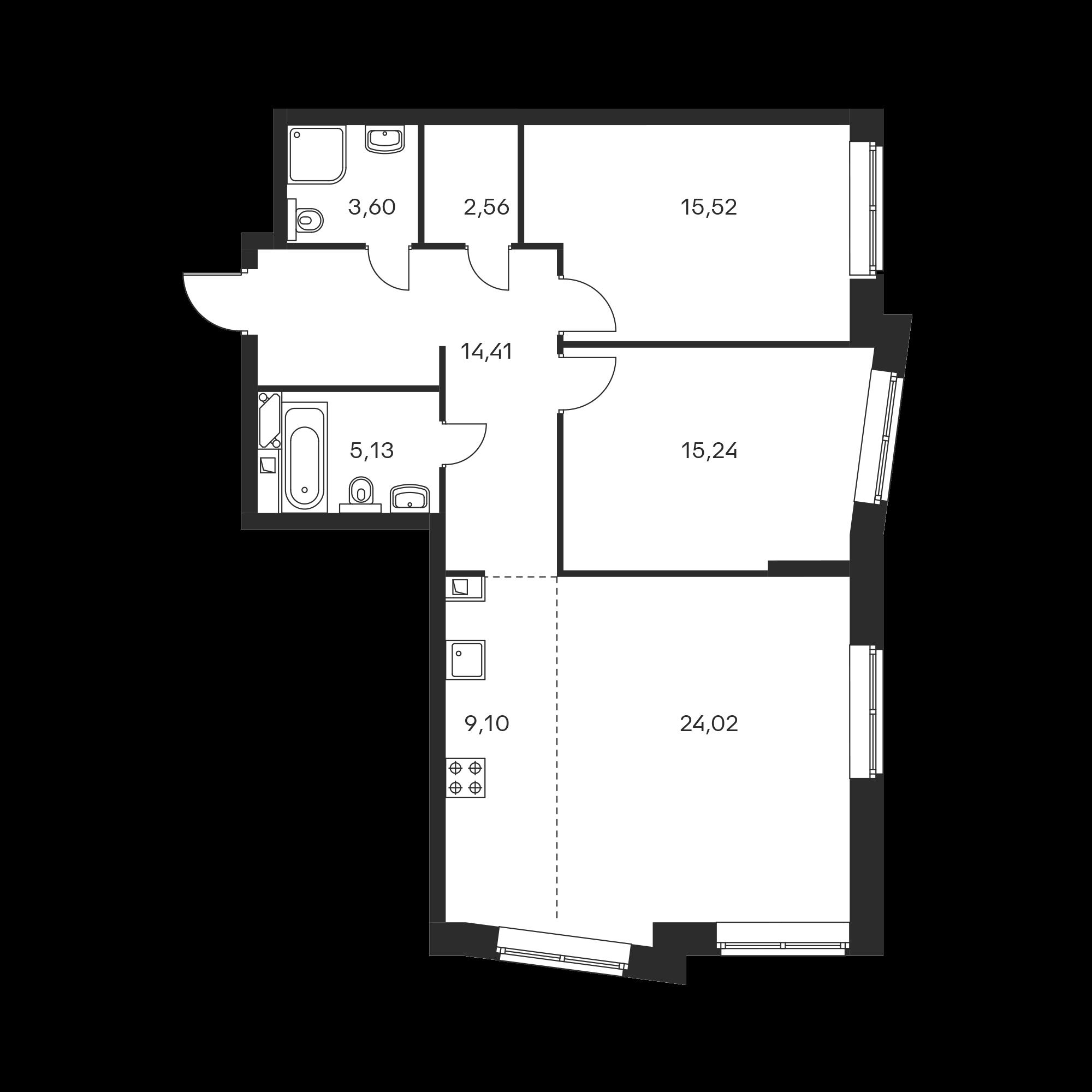3-комнатная 89.58 м²