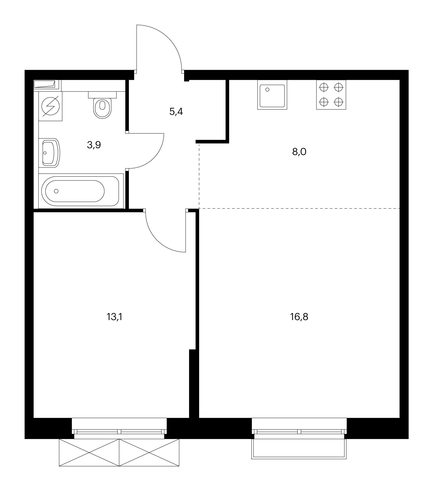 2-комнатная 49.3 м²