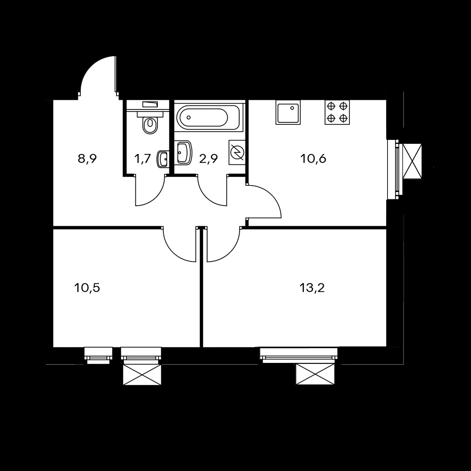 2-комнатная 47.7 м²