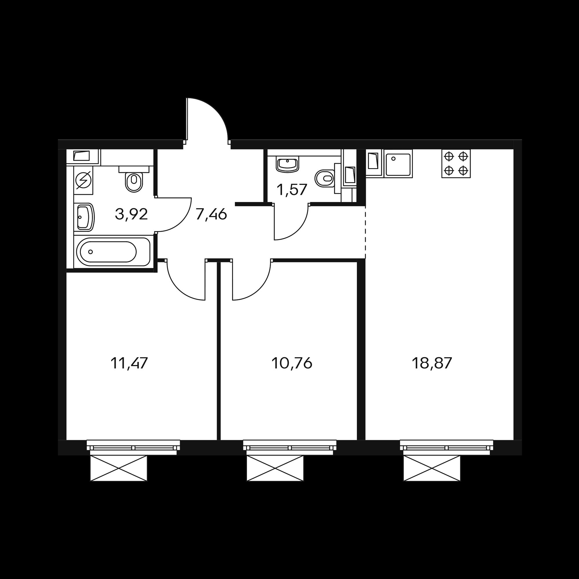2-комнатная 53.97  м²