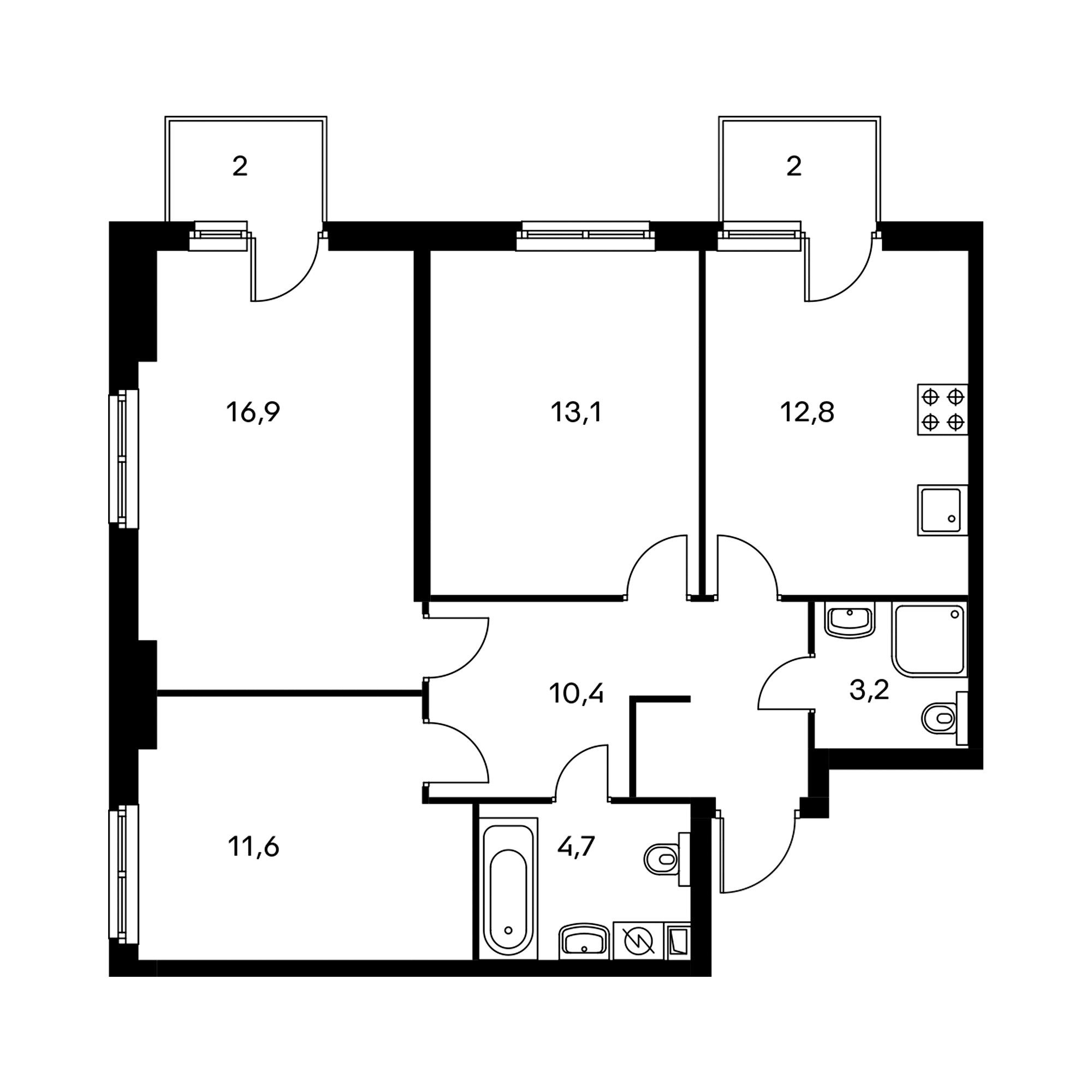 3-комнатная 73.5 м²
