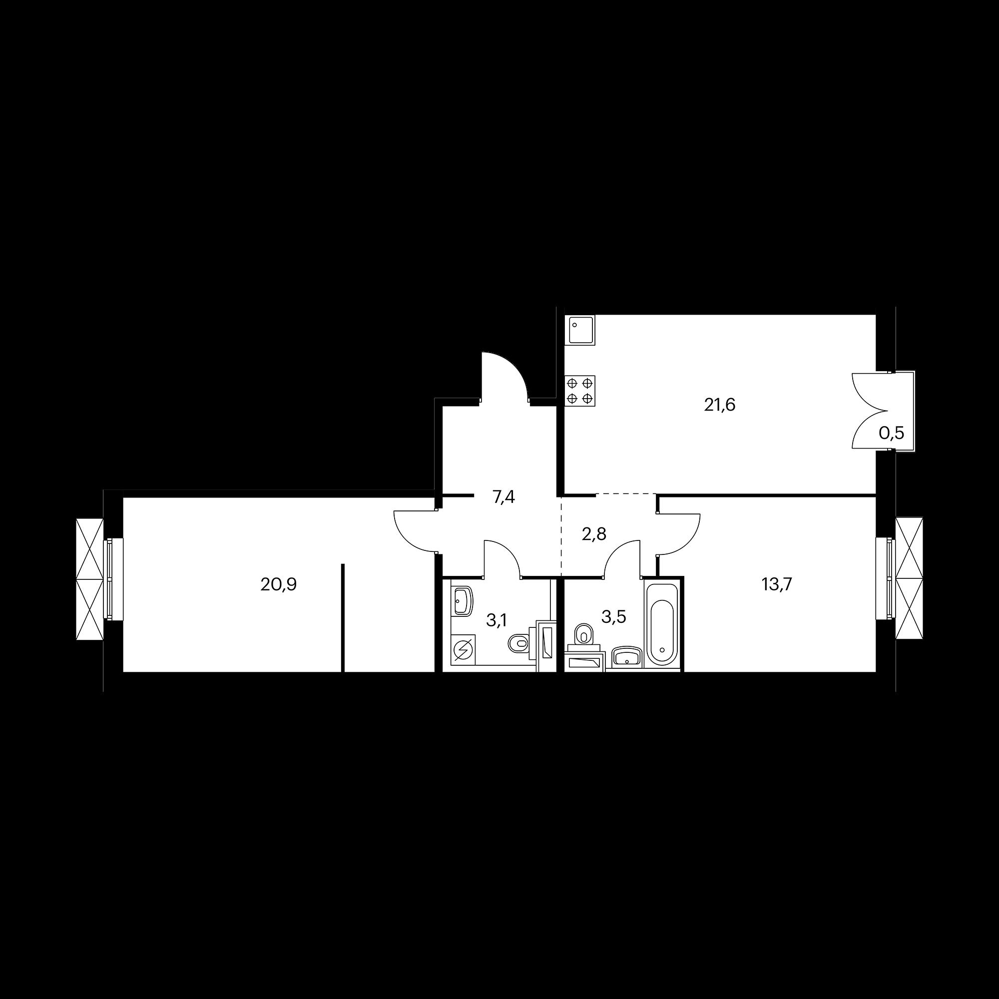 2-комнатная 73.2 м²
