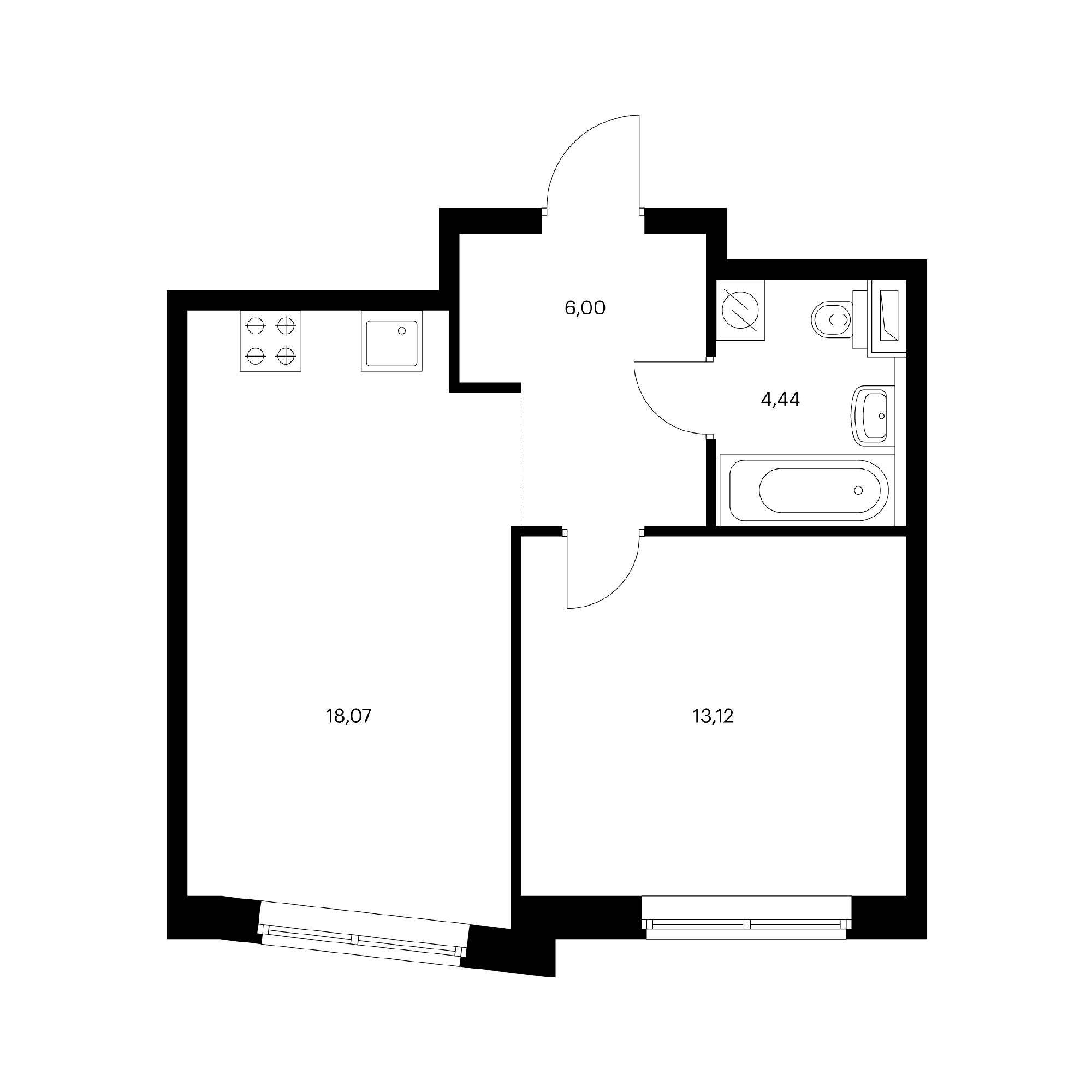 1-комнатная 41.63  м²