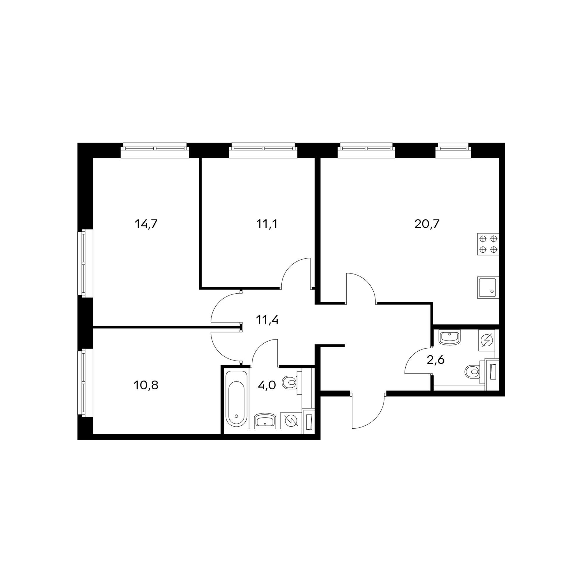 3-комнатная 74.8 м²