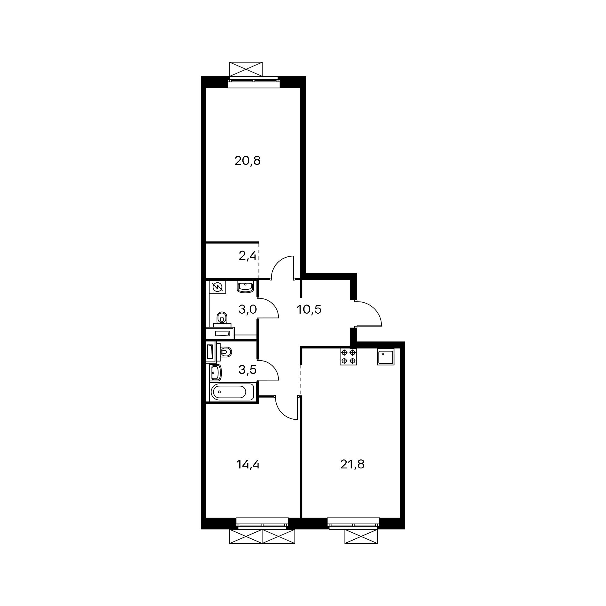 2-комнатная 76.4 м²