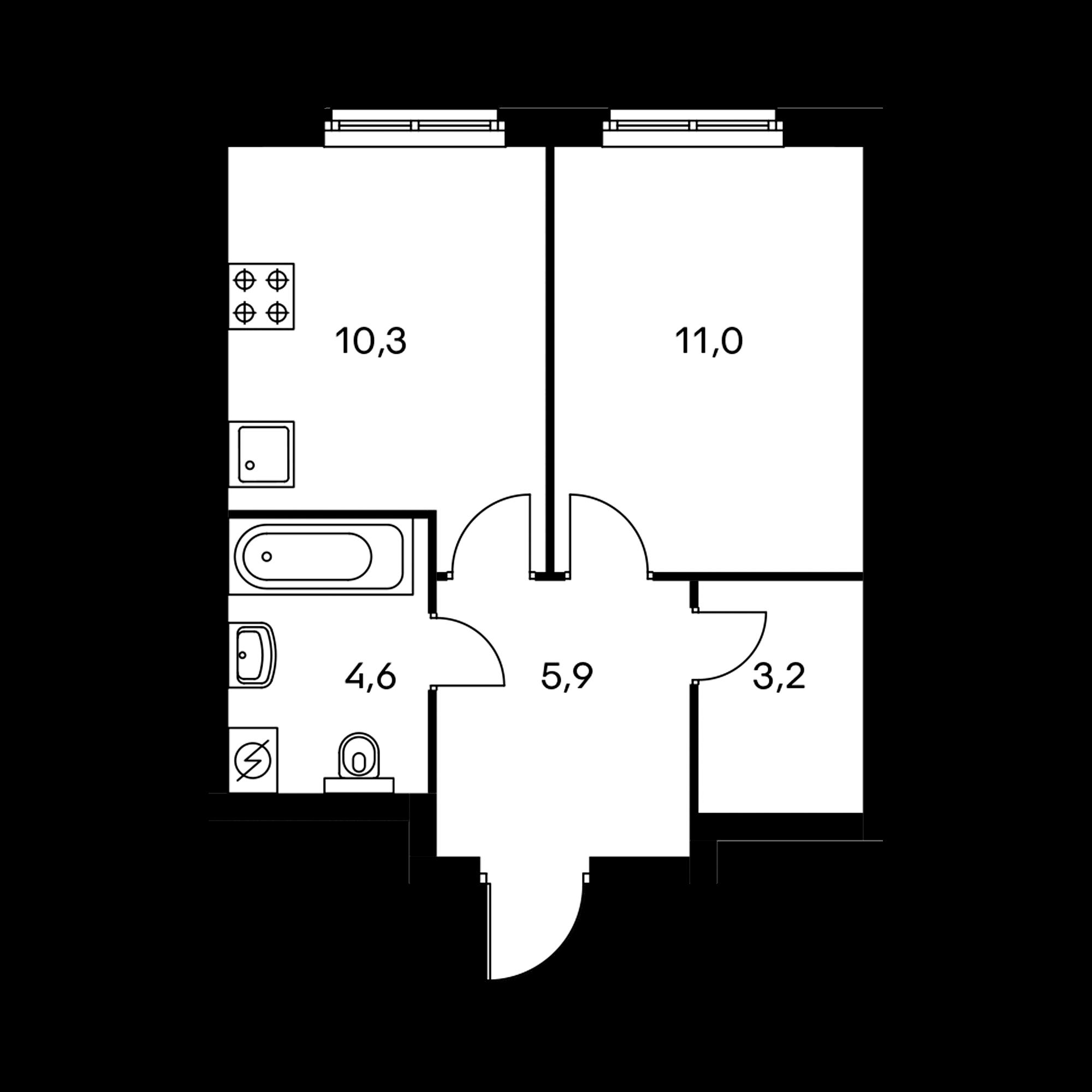 1-комнатная 35  м²