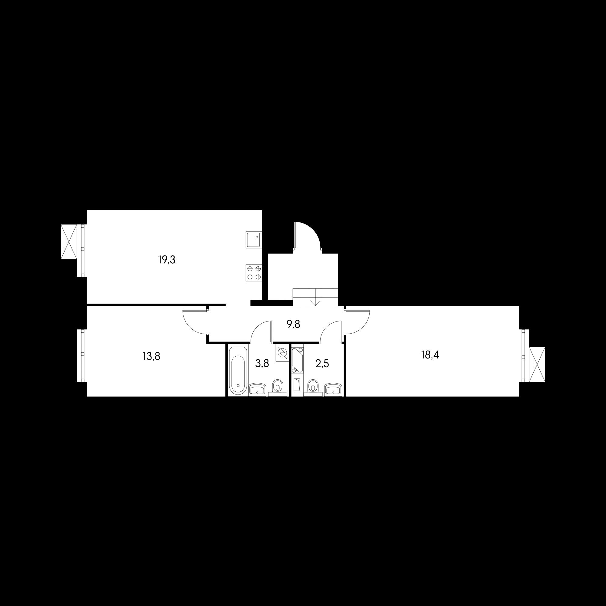 2-комнатная 68  м²