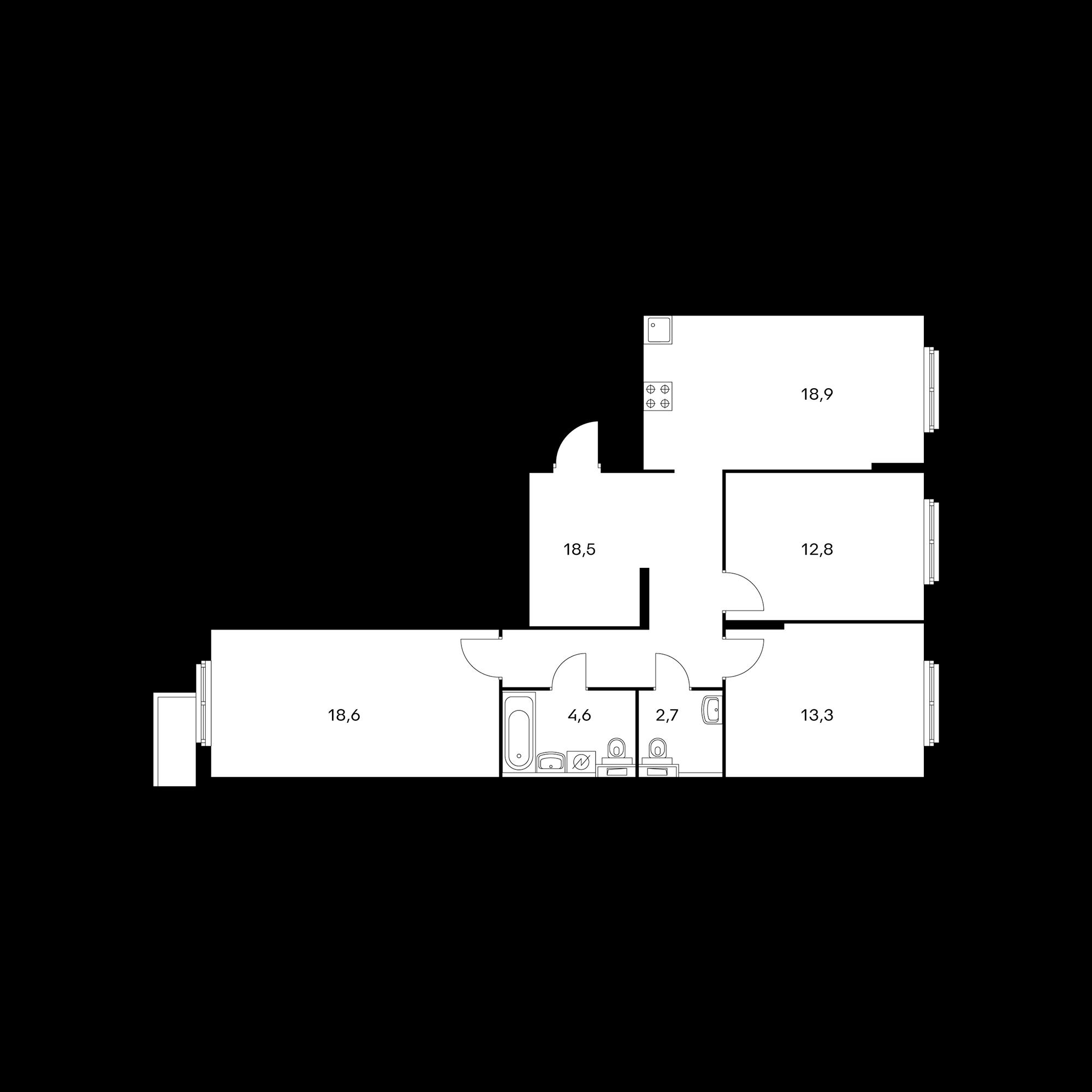3-комнатная 89.6  м²