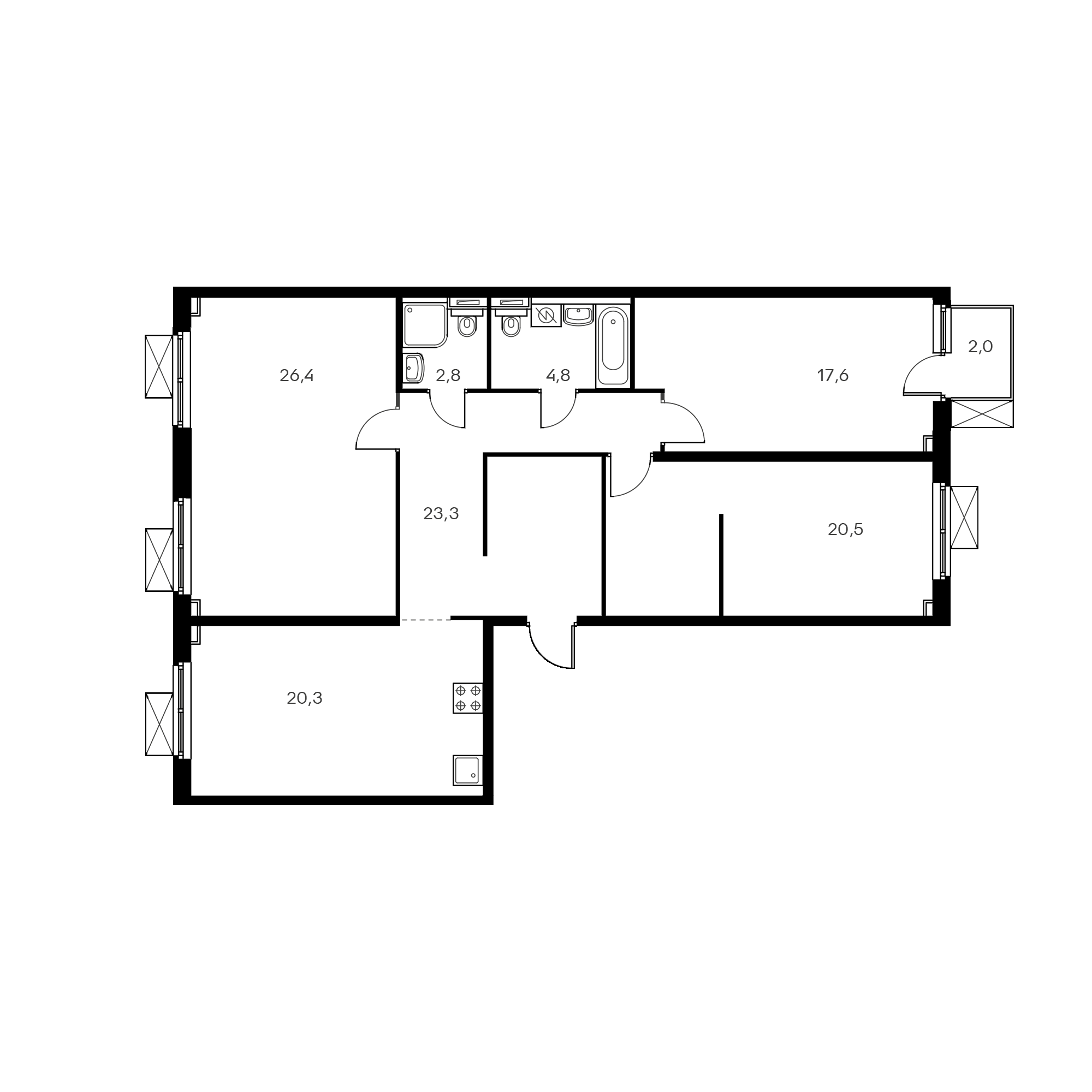 3-комнатная 117.3 м²