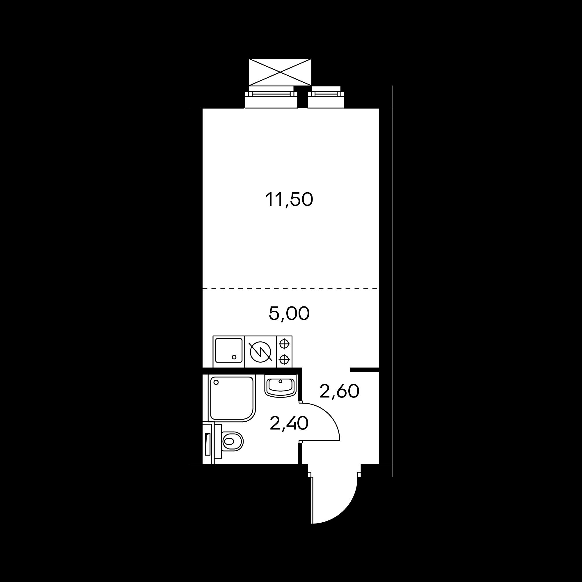 Студия 21.5  м²