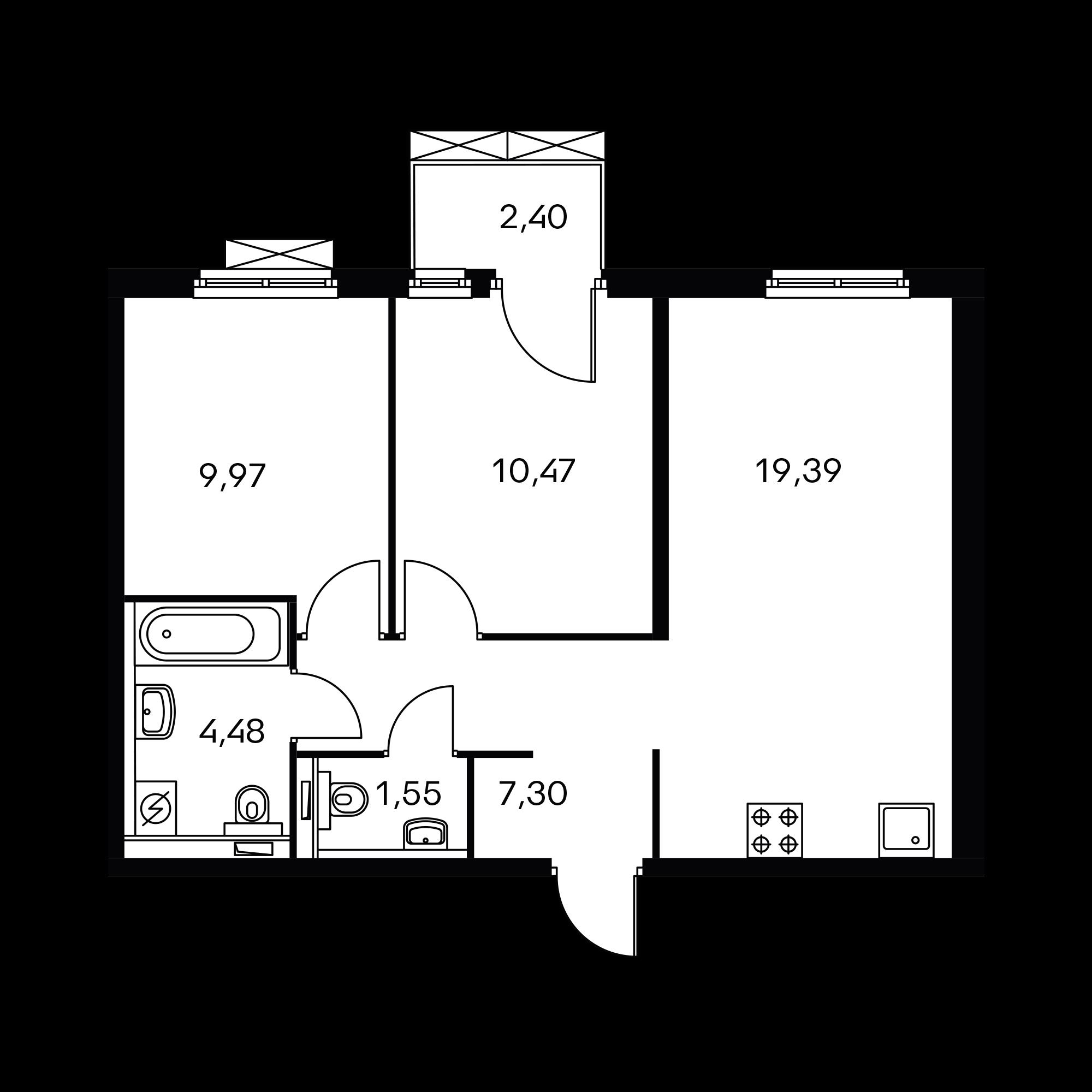 2-комнатная 53.88  м²