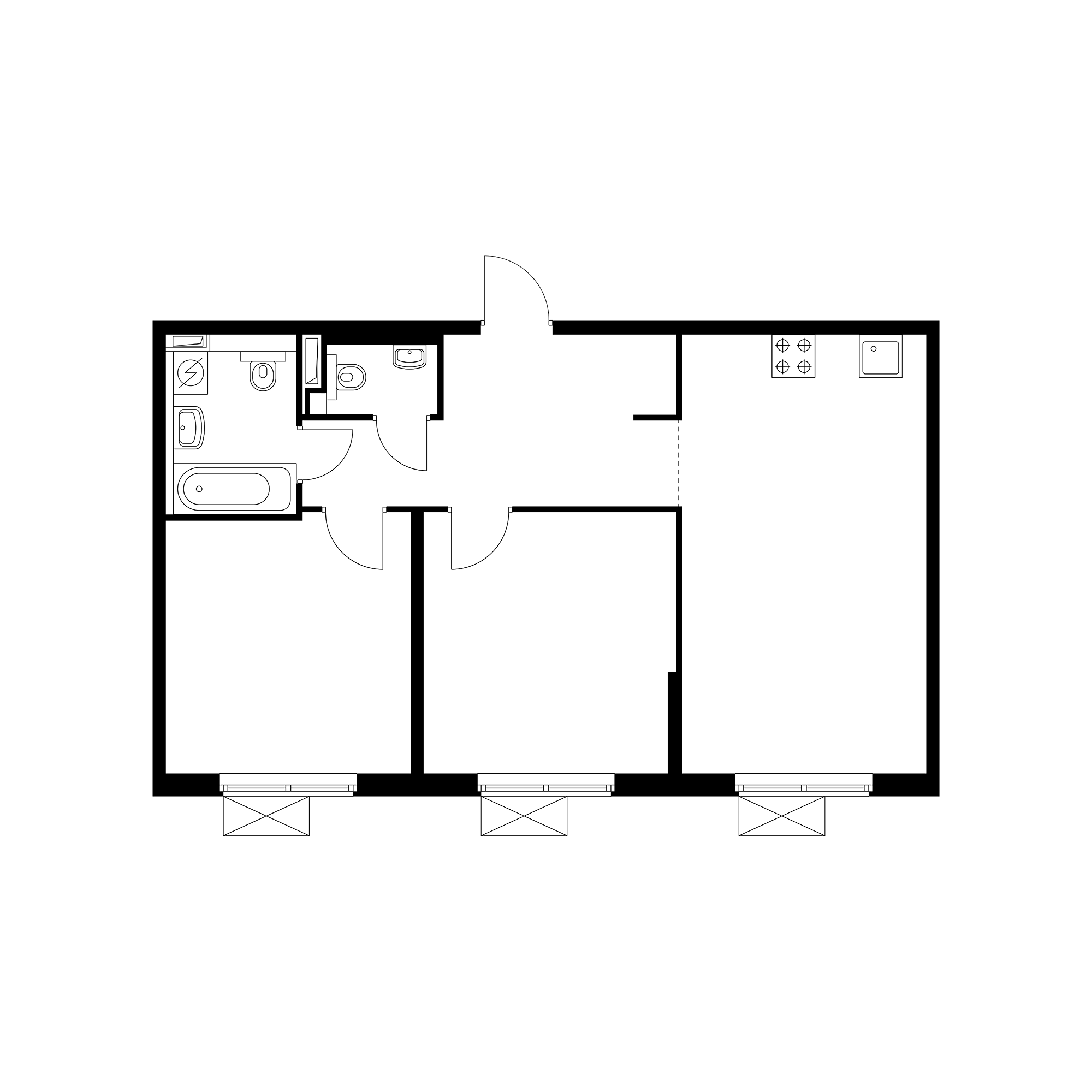 2-комнатная 61.67 м²