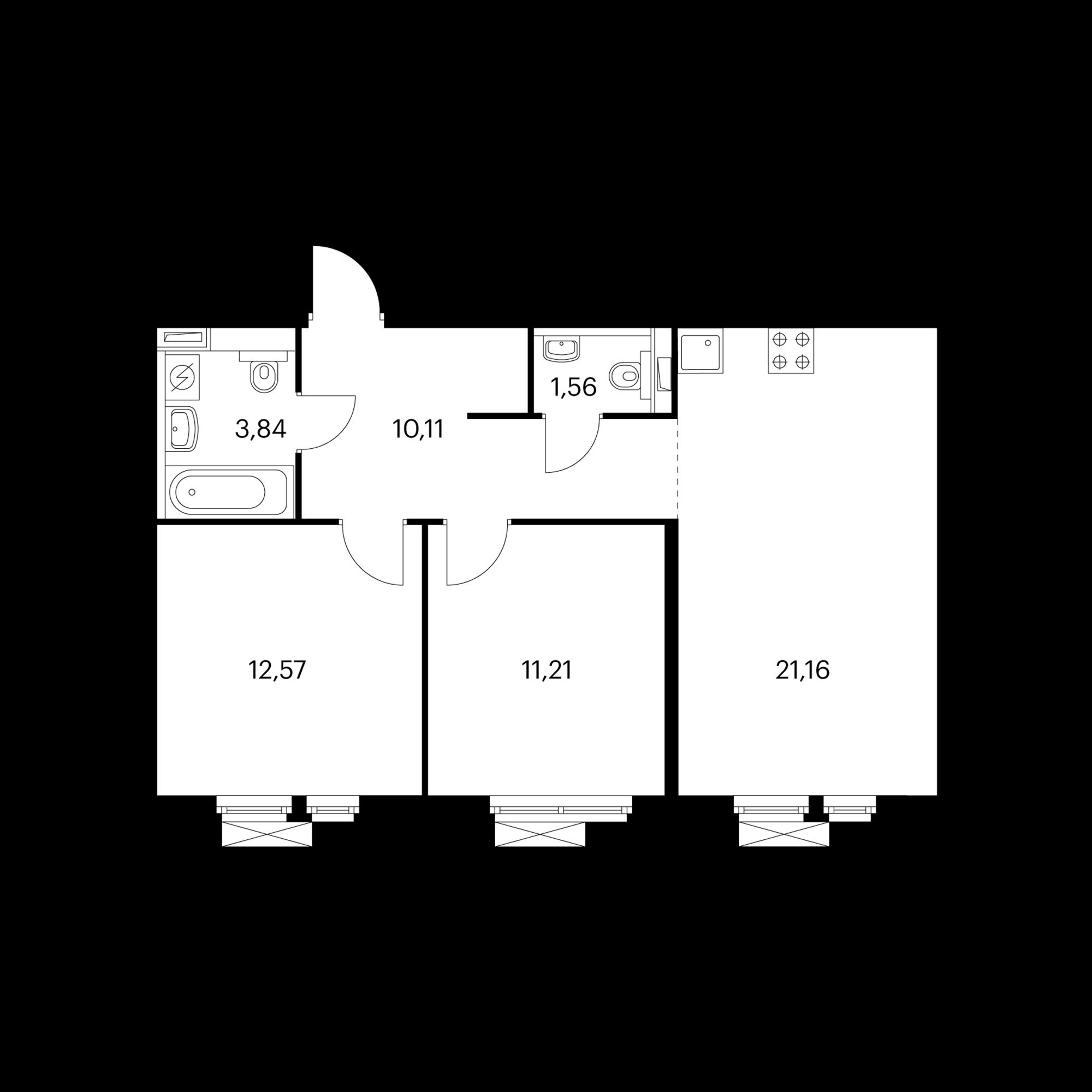 2-комнатная 60.45 м²