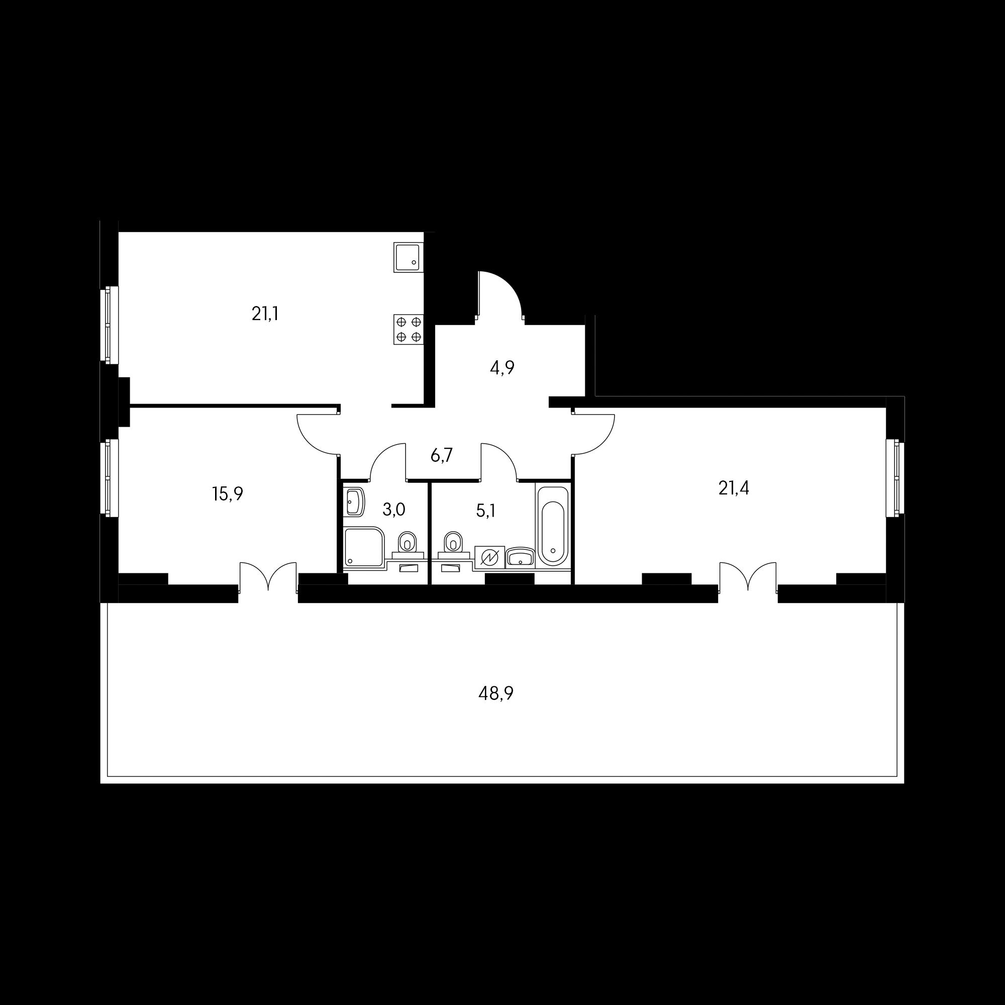 2-комнатная 90.3 м²