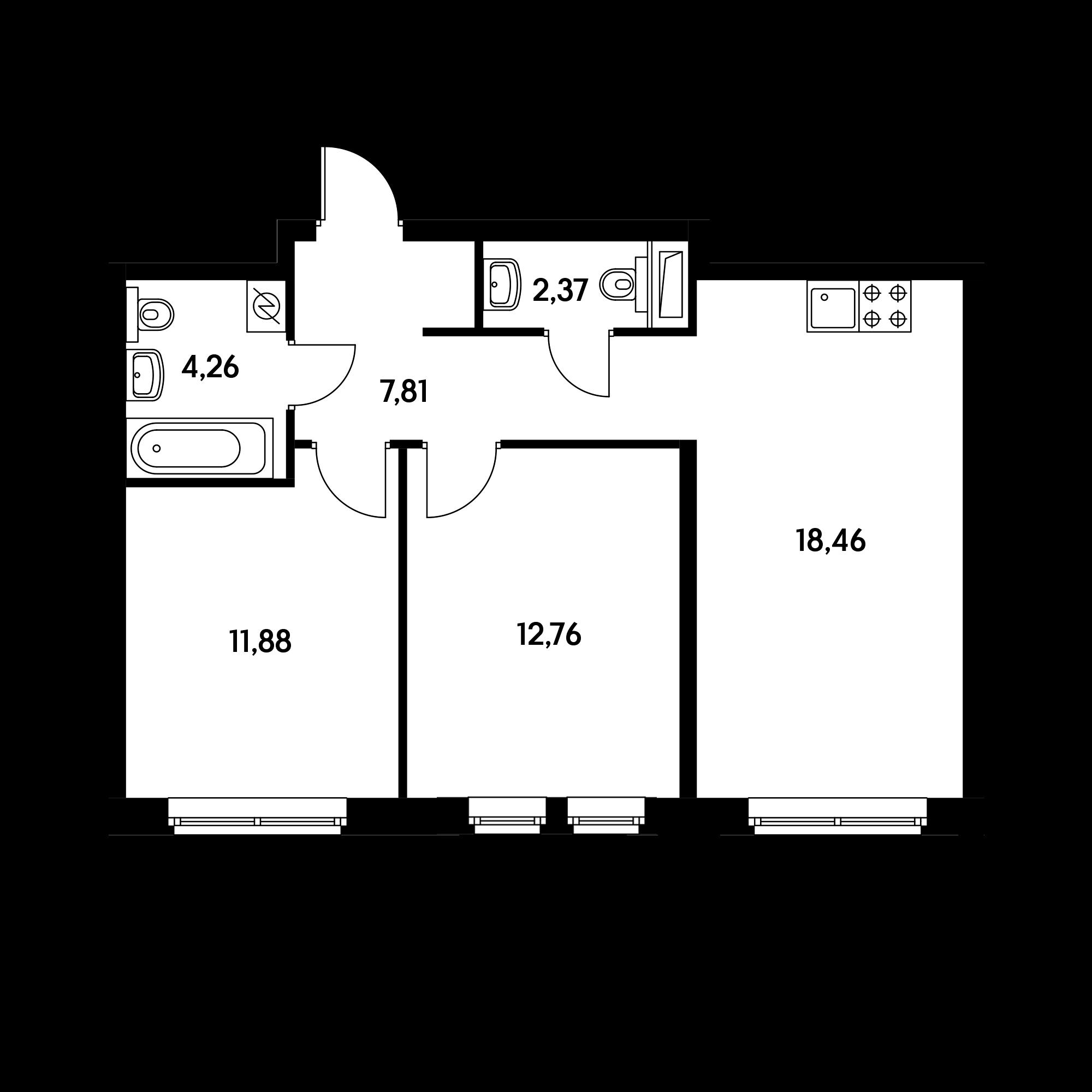 2-комнатная 57.39  м²