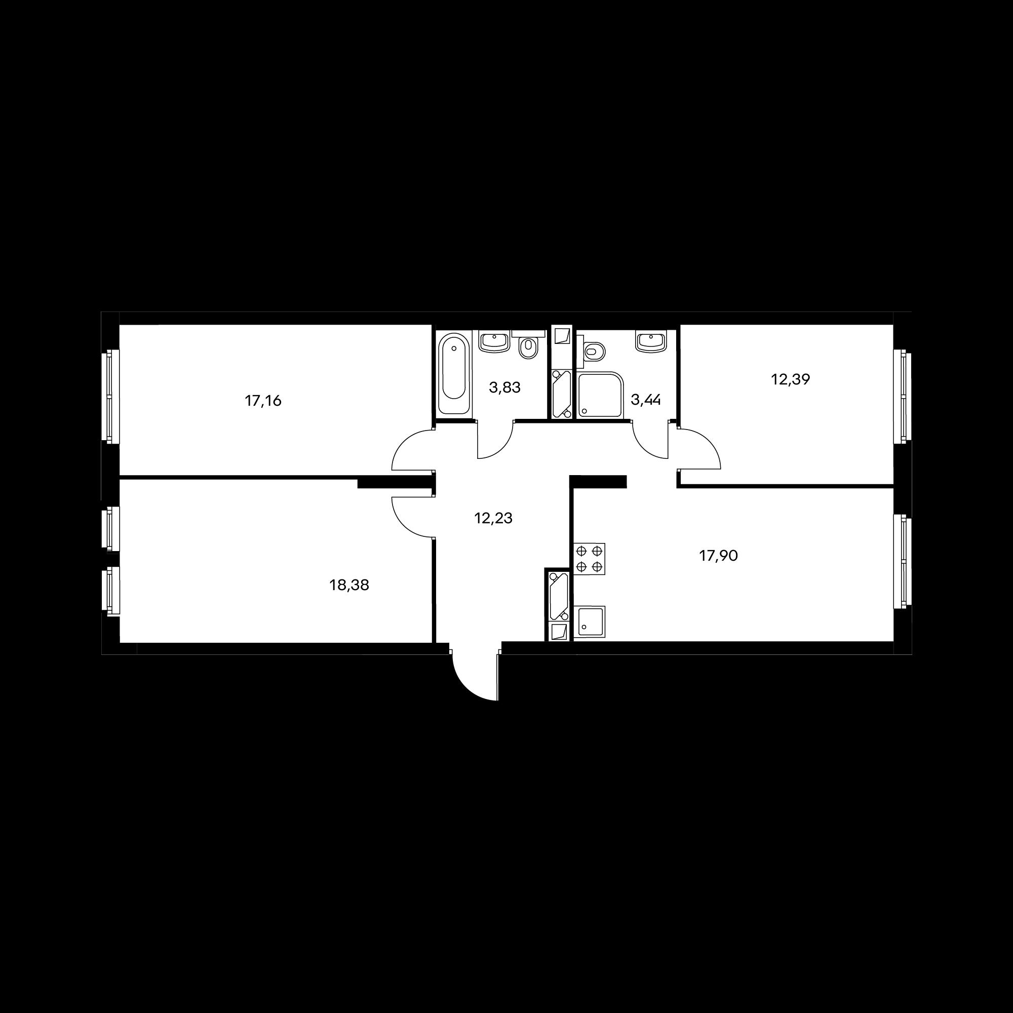 3-комнатная 85.4 м²