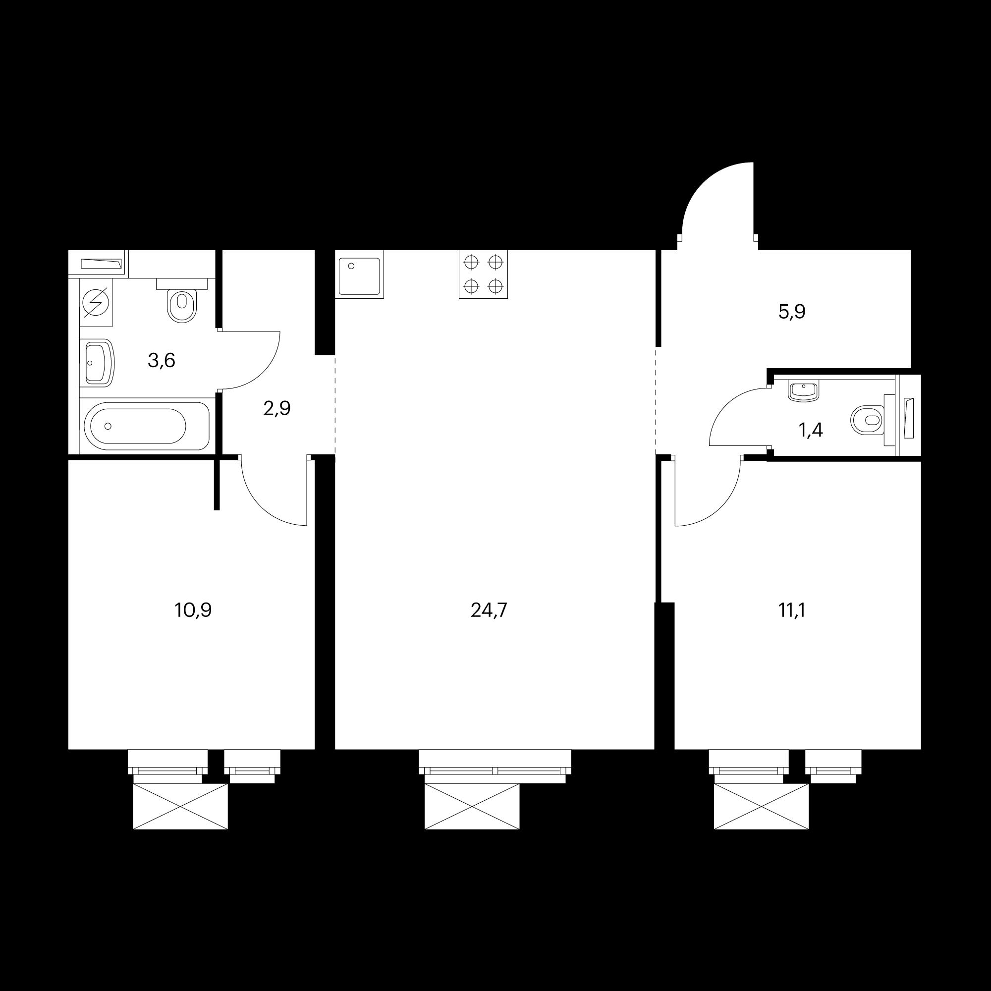 2-комнатная 60.5 м²