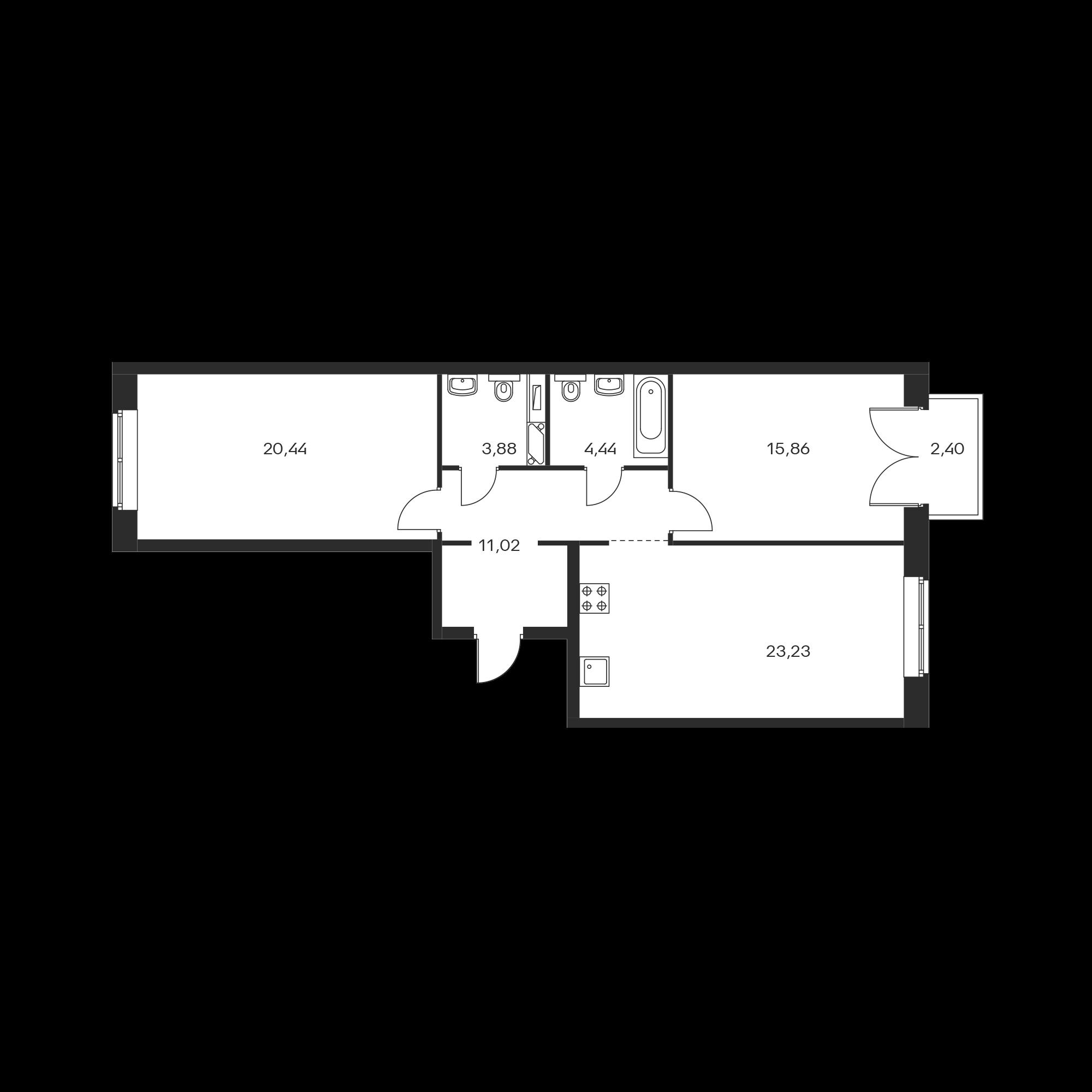 2-комнатная 79.59 м²