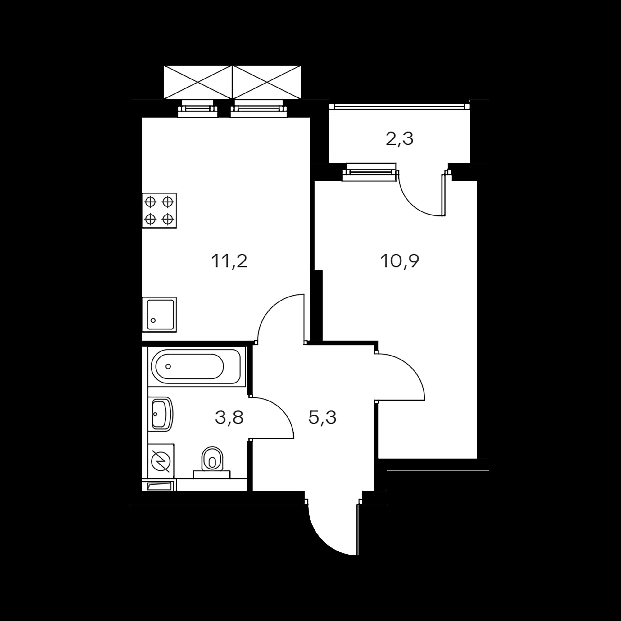 1-комнатная 32.4  м²