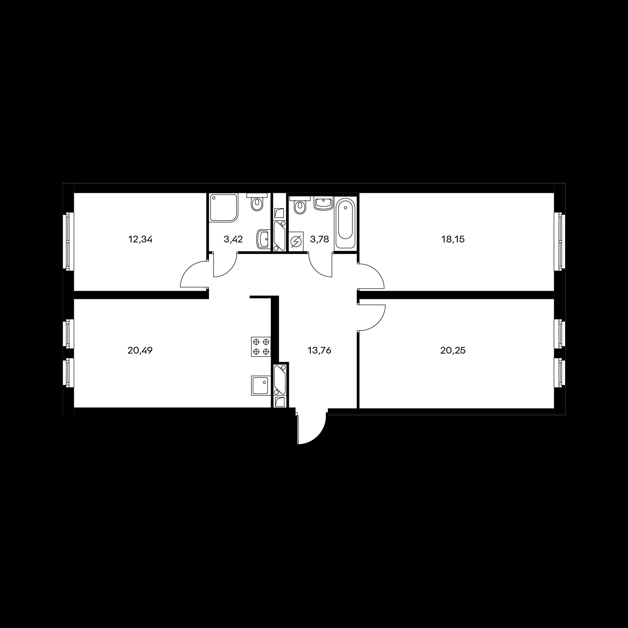 3-комнатная 92.19 м²