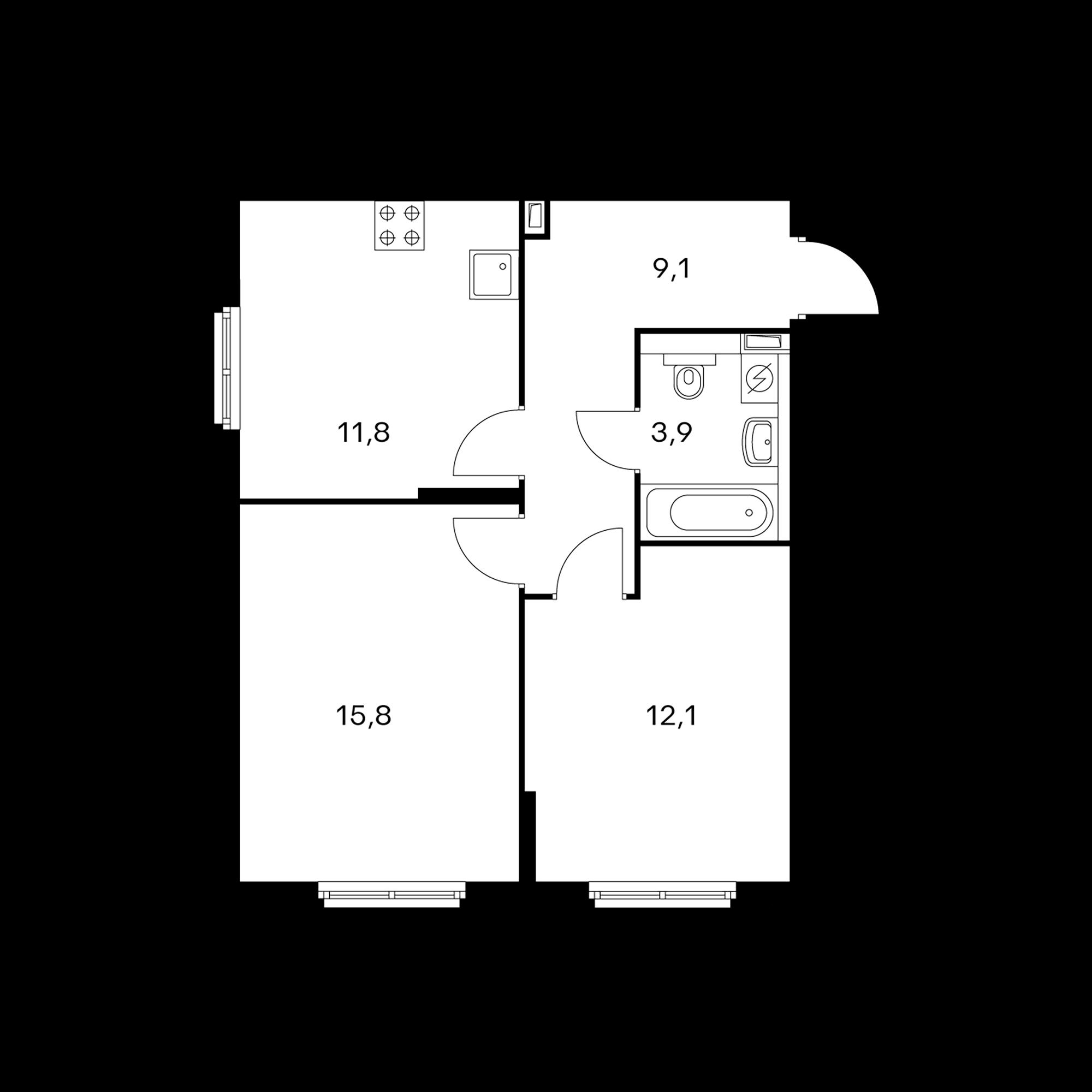 2-комнатная 53 м²