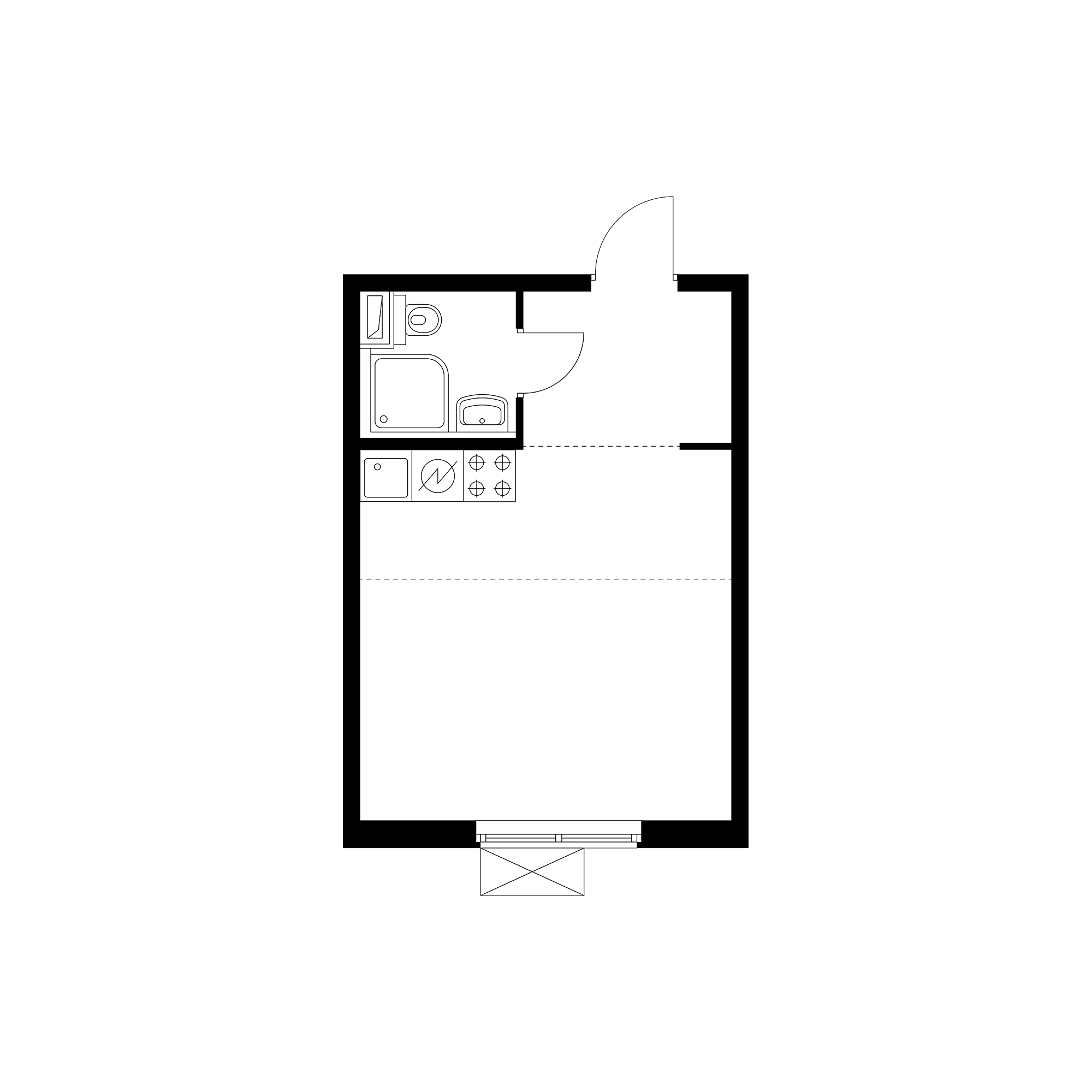 Студия 25.44  м²