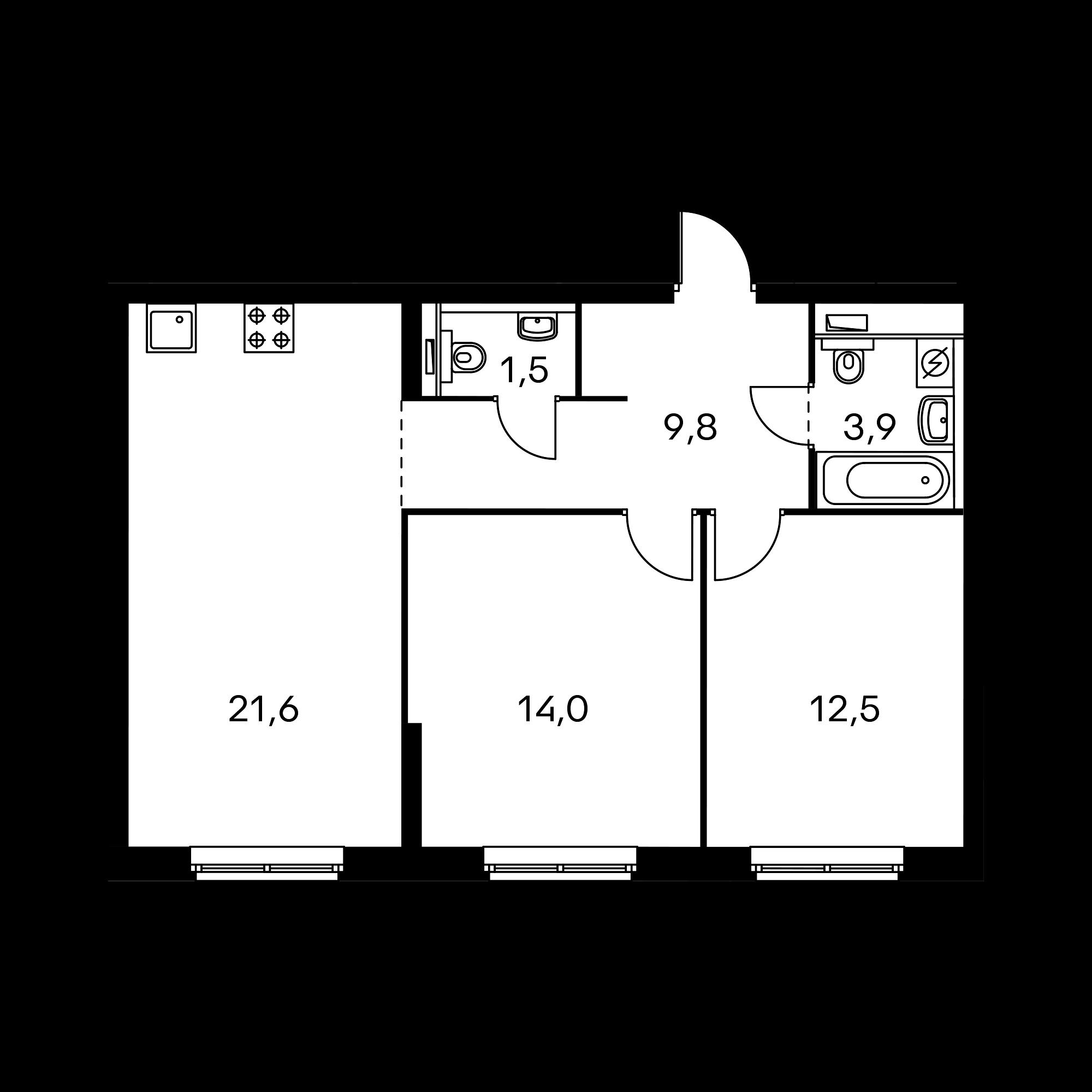2-комнатная 63.3  м²