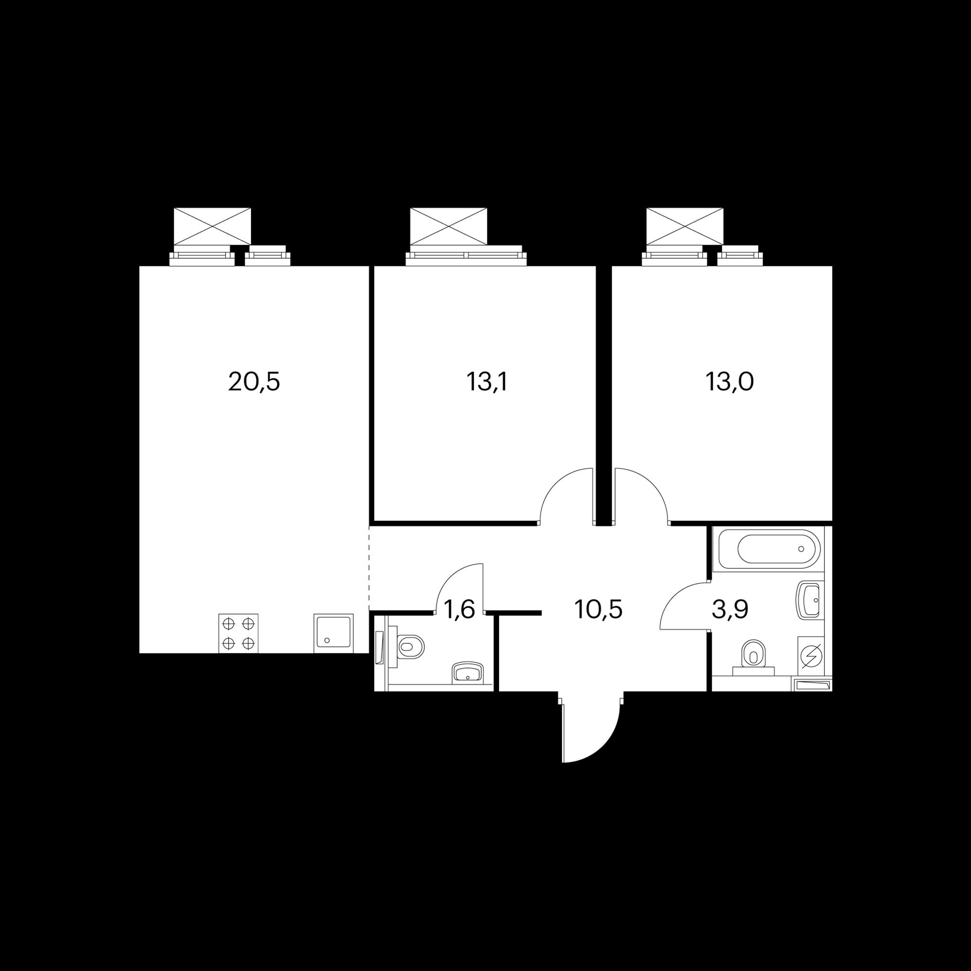 2-комнатная 63  м²