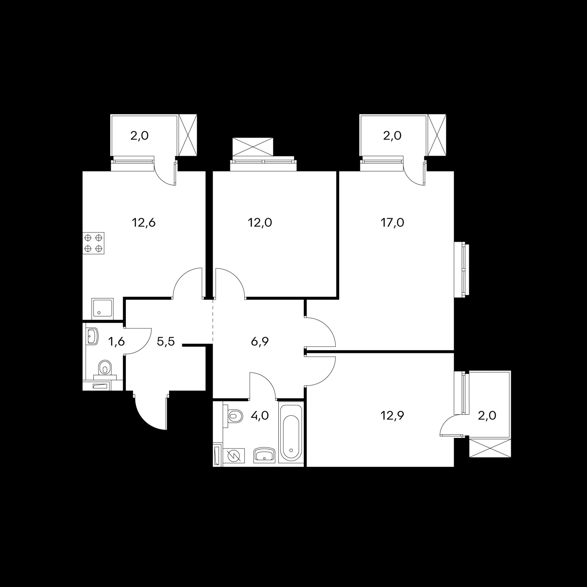 3-комнатная 74.3  м²