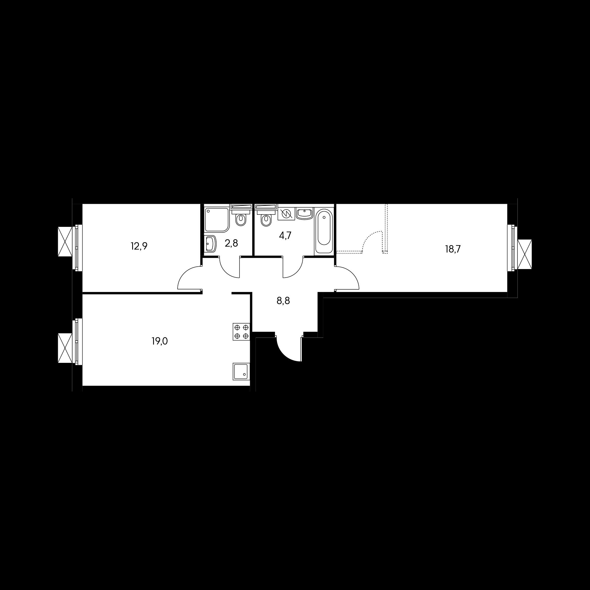 2-комнатная 66.4 м²