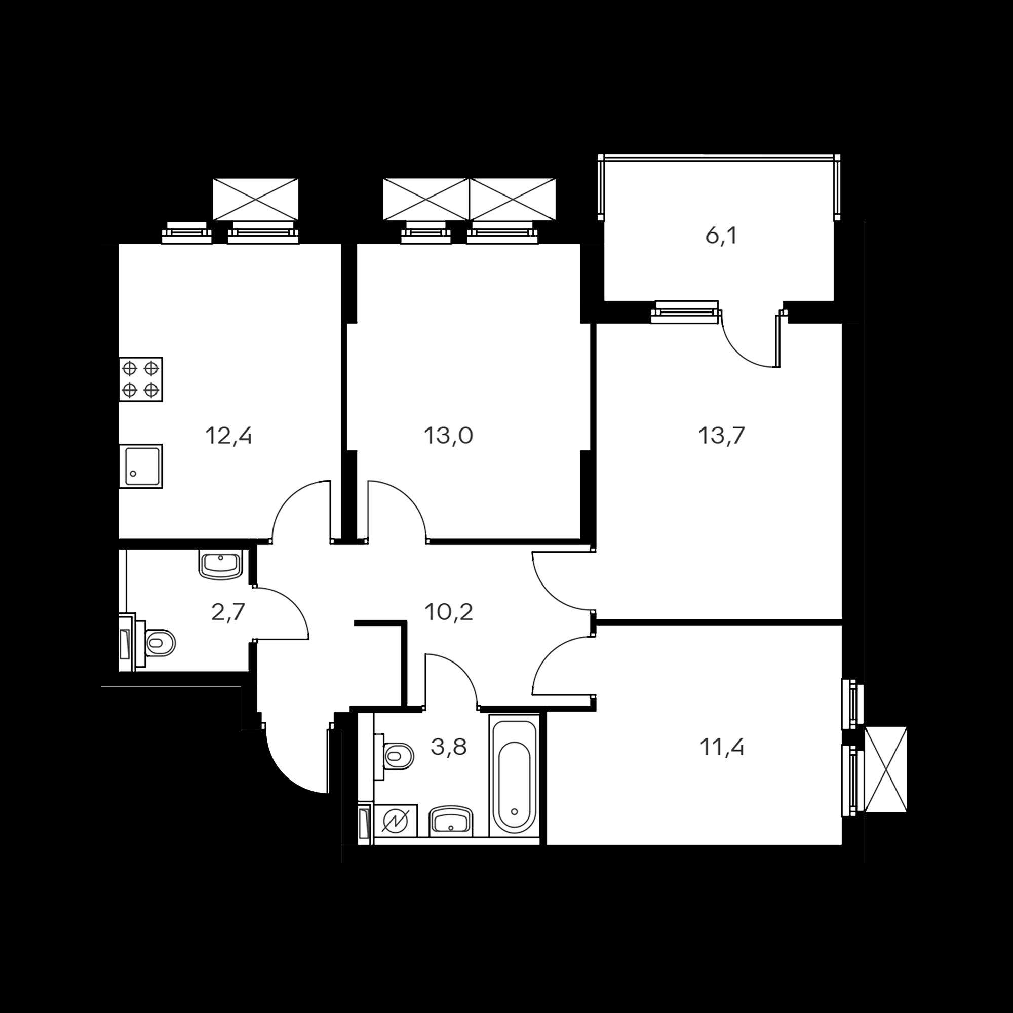 3-комнатная 70.2 м²