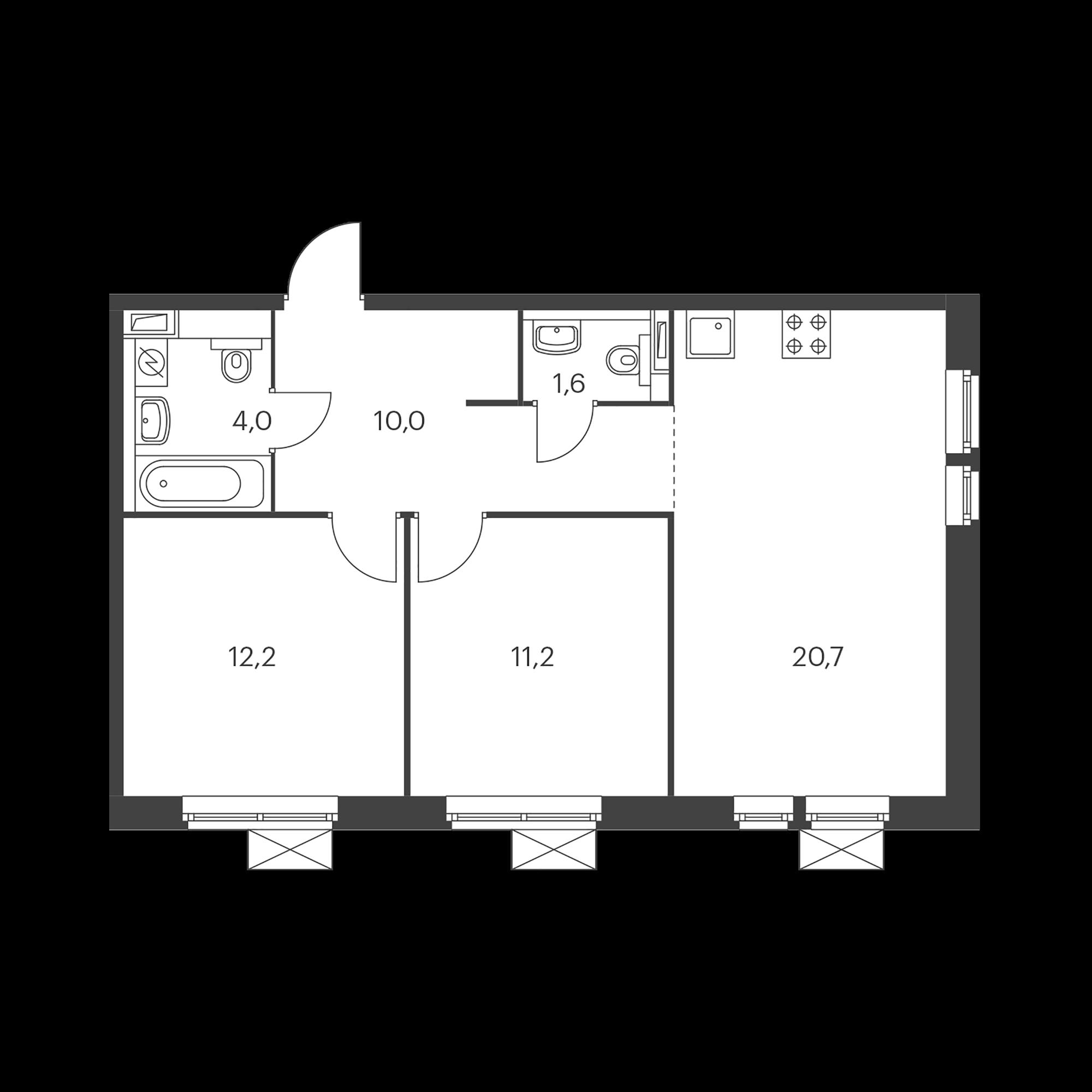 2-комнатная 59.7  м²