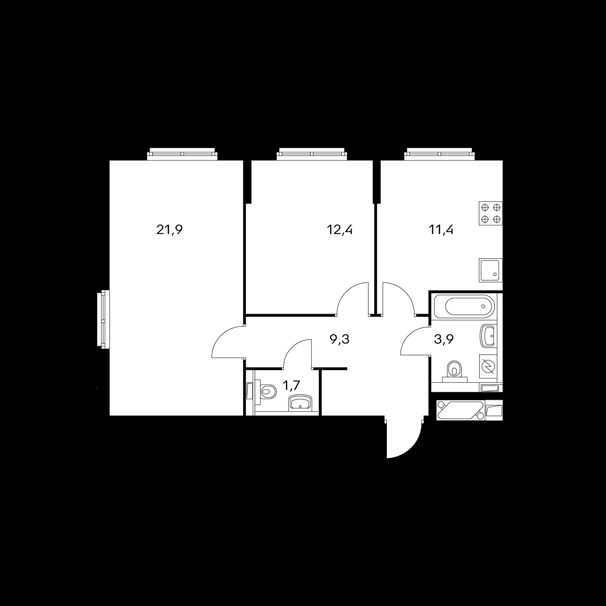 2-комнатная 60.6 м²
