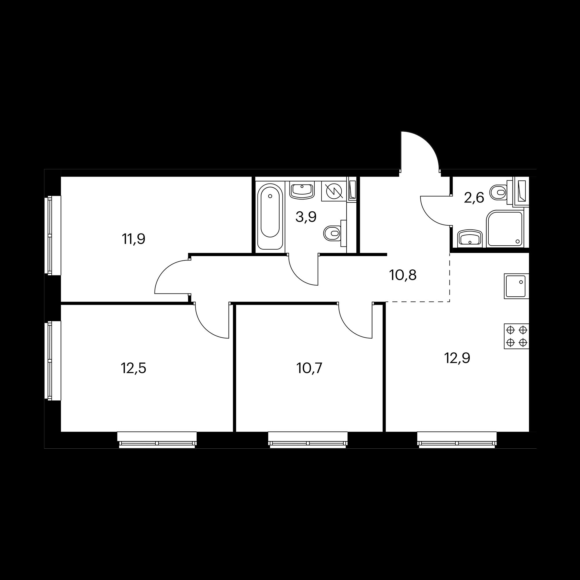 3-комнатная 65.3 м²