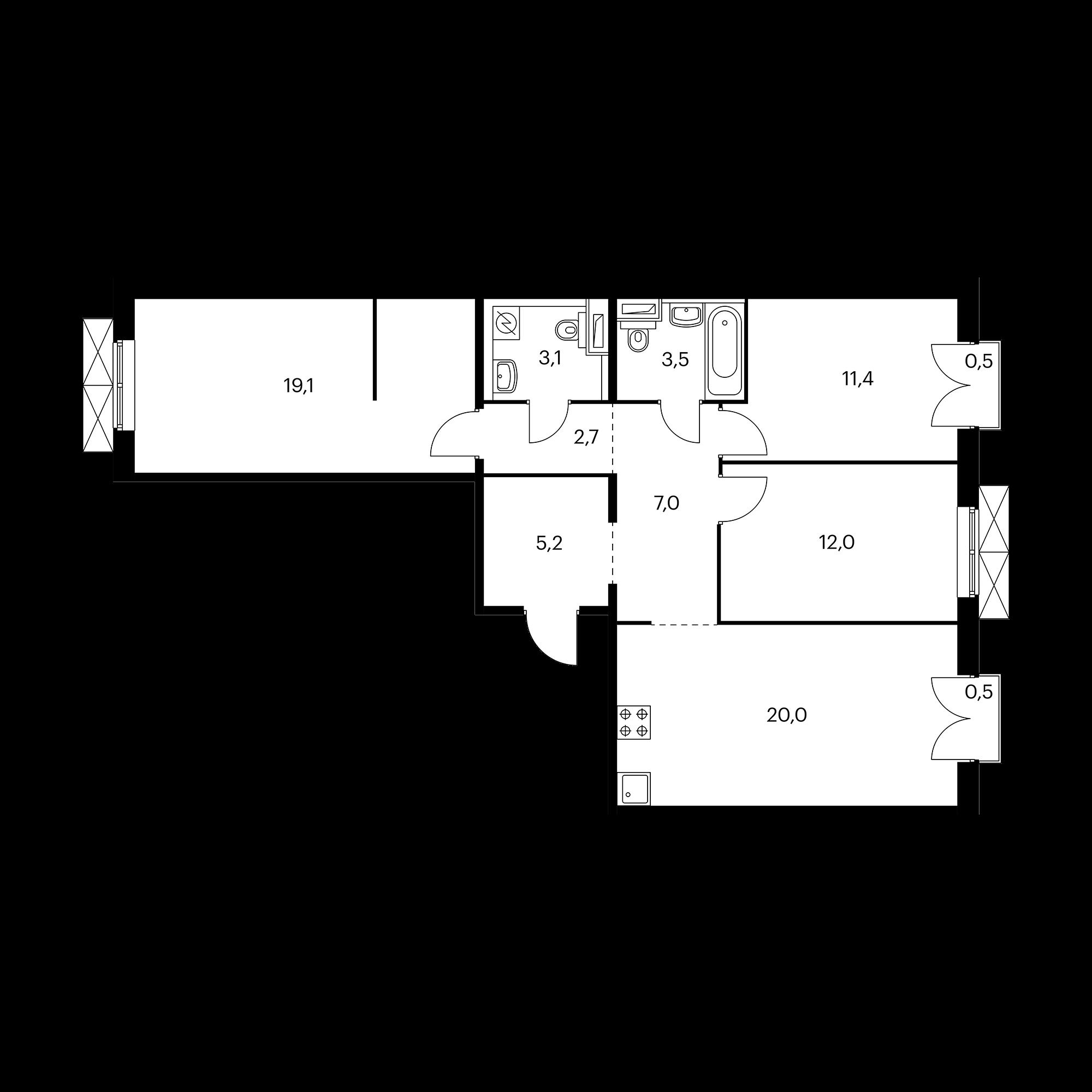 3-комнатная 84.4 м²