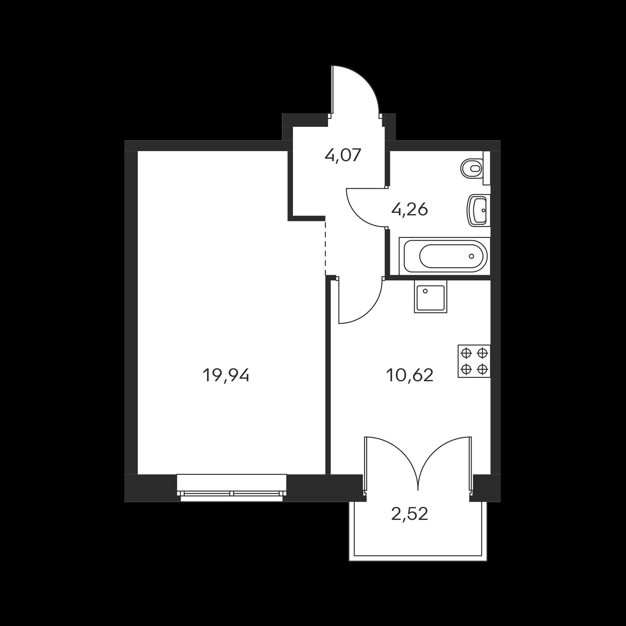 1-комнатная 39.65 м²